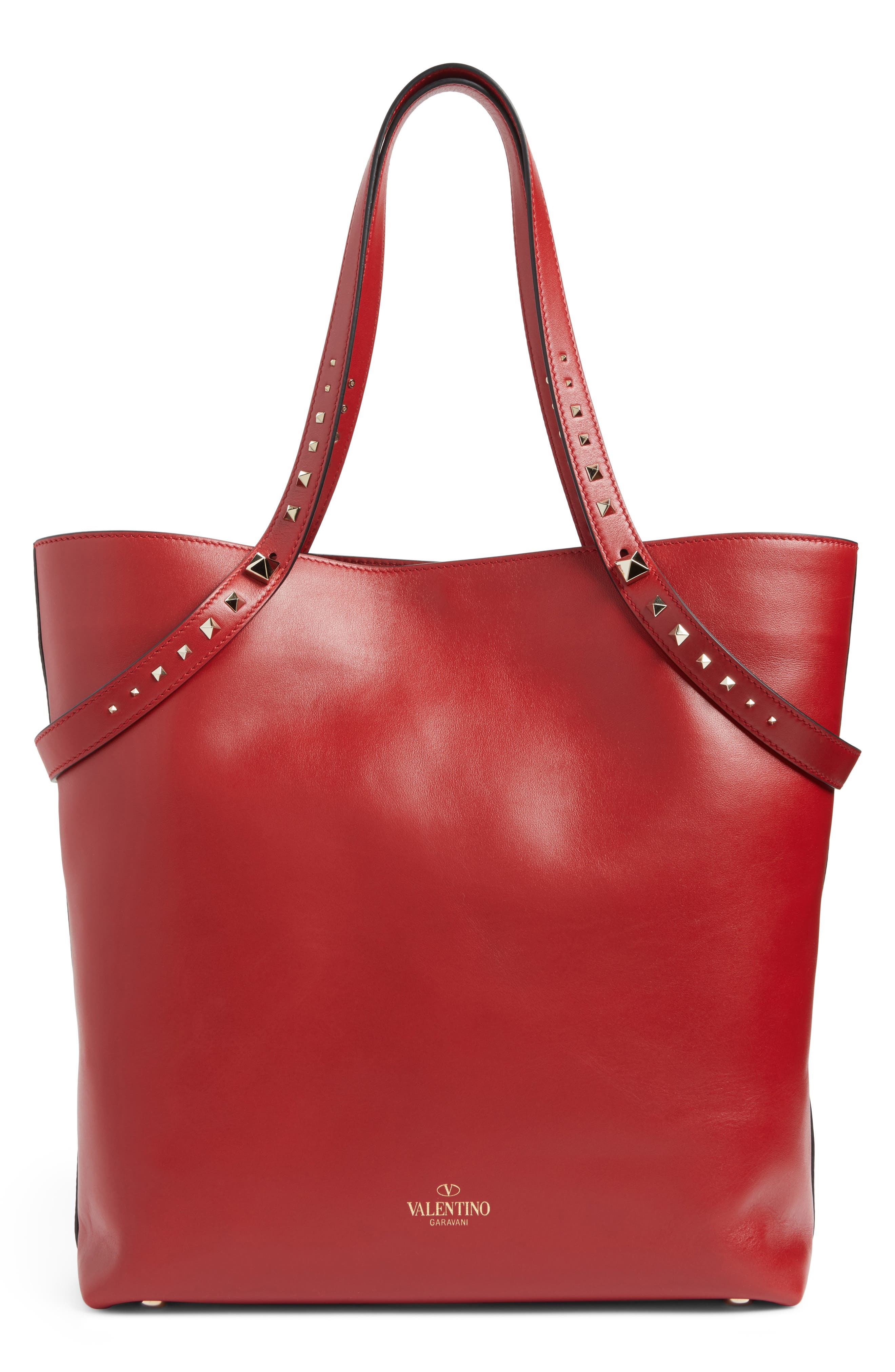 Lovestud Leather Tote,                             Alternate thumbnail 9, color,