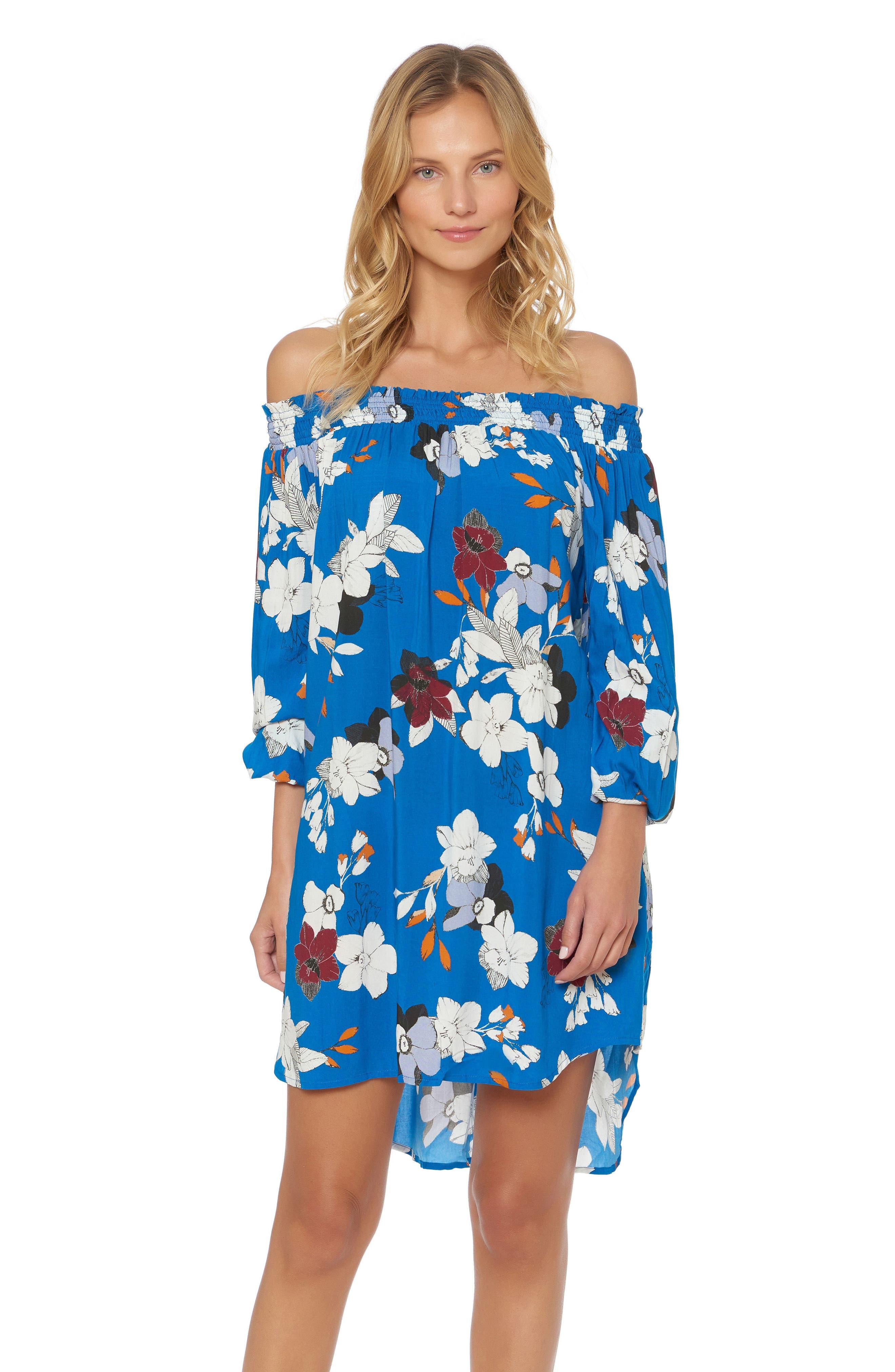 Floral Off the Shoulder Cover-Up Dress,                             Alternate thumbnail 3, color,                             VISION