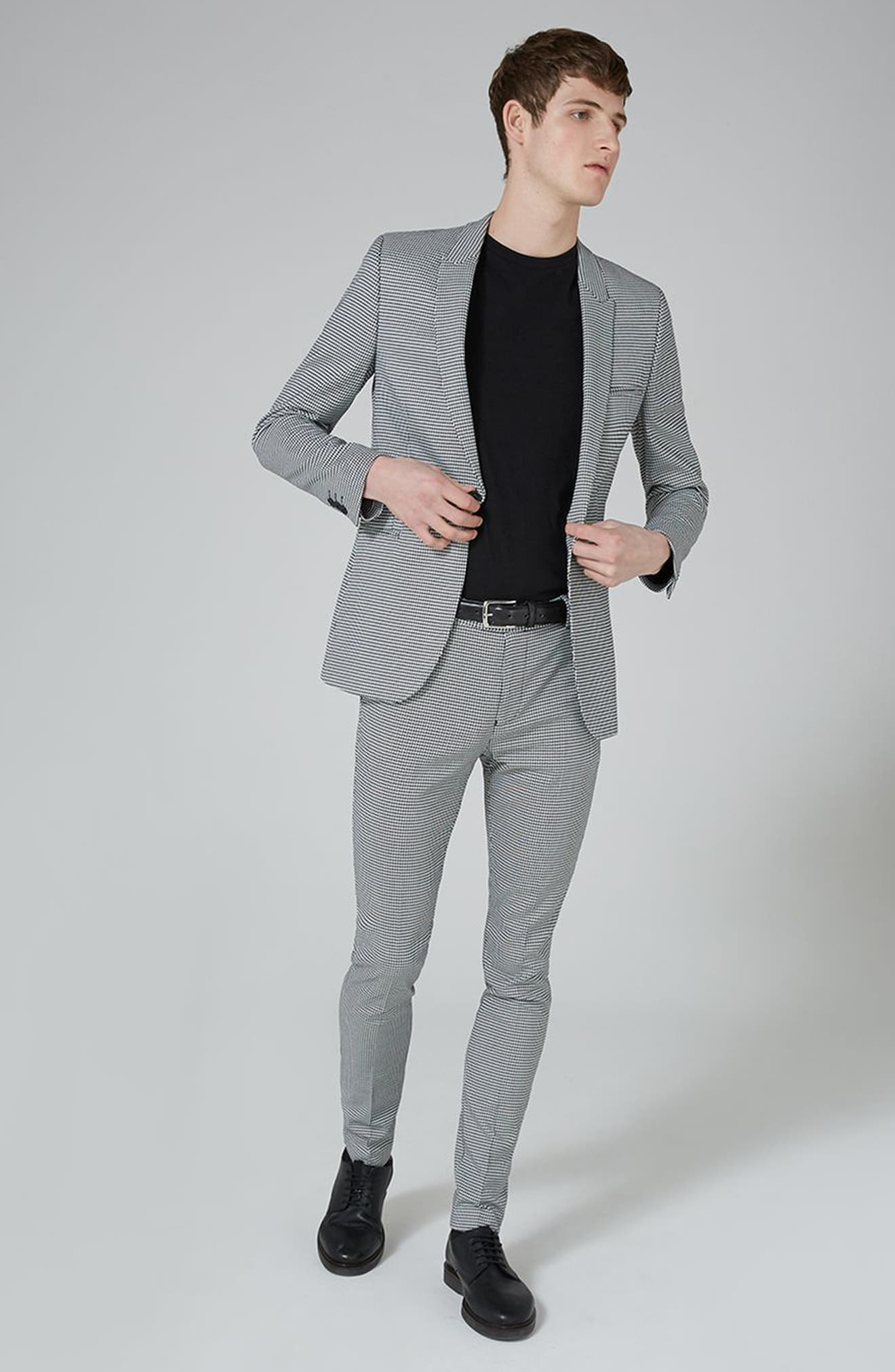 Ultra Skinny Fit Houndstooth Suit Trousers,                             Alternate thumbnail 5, color,