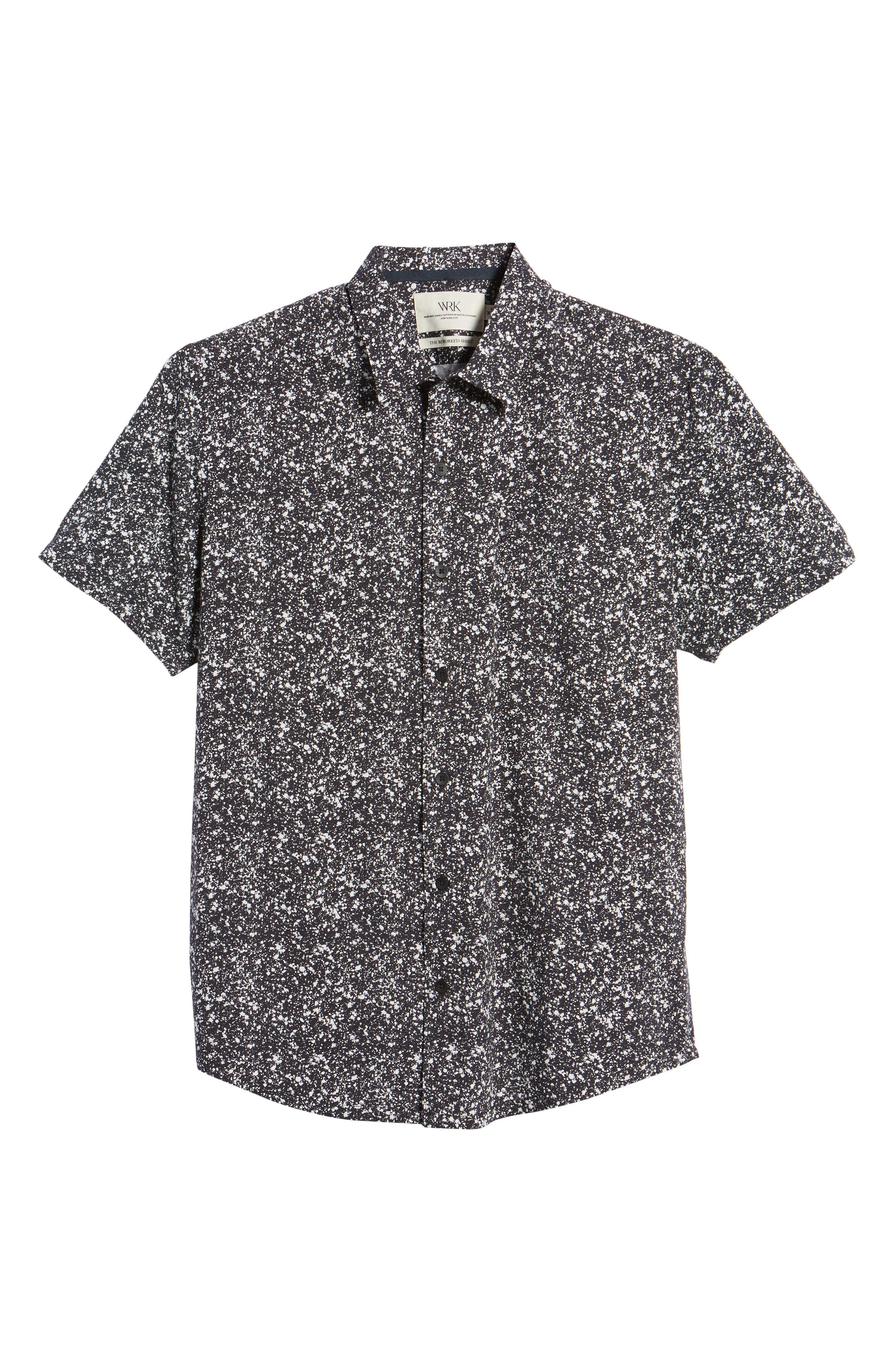 Slim Fit Splatter Sport Shirt,                             Alternate thumbnail 6, color,                             090