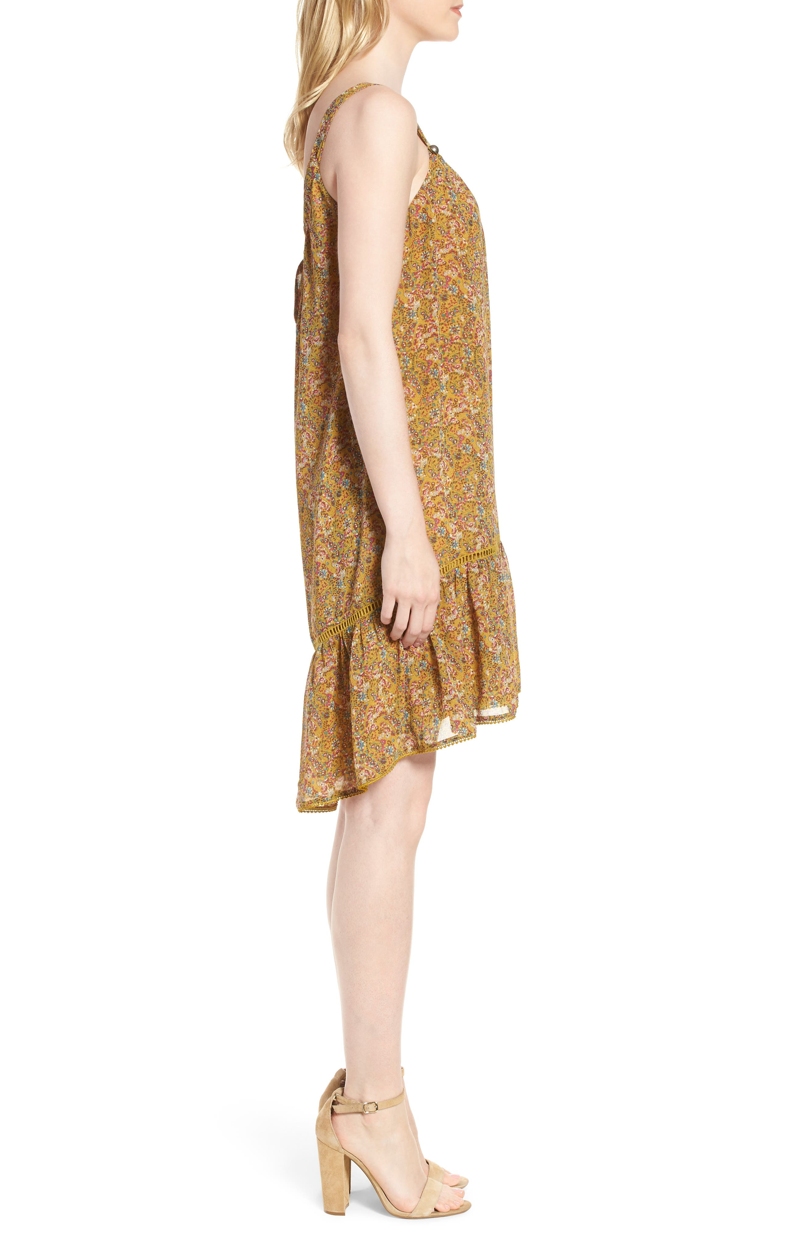 Madison Floral Sundress,                             Alternate thumbnail 3, color,                             YELLOW MULTI