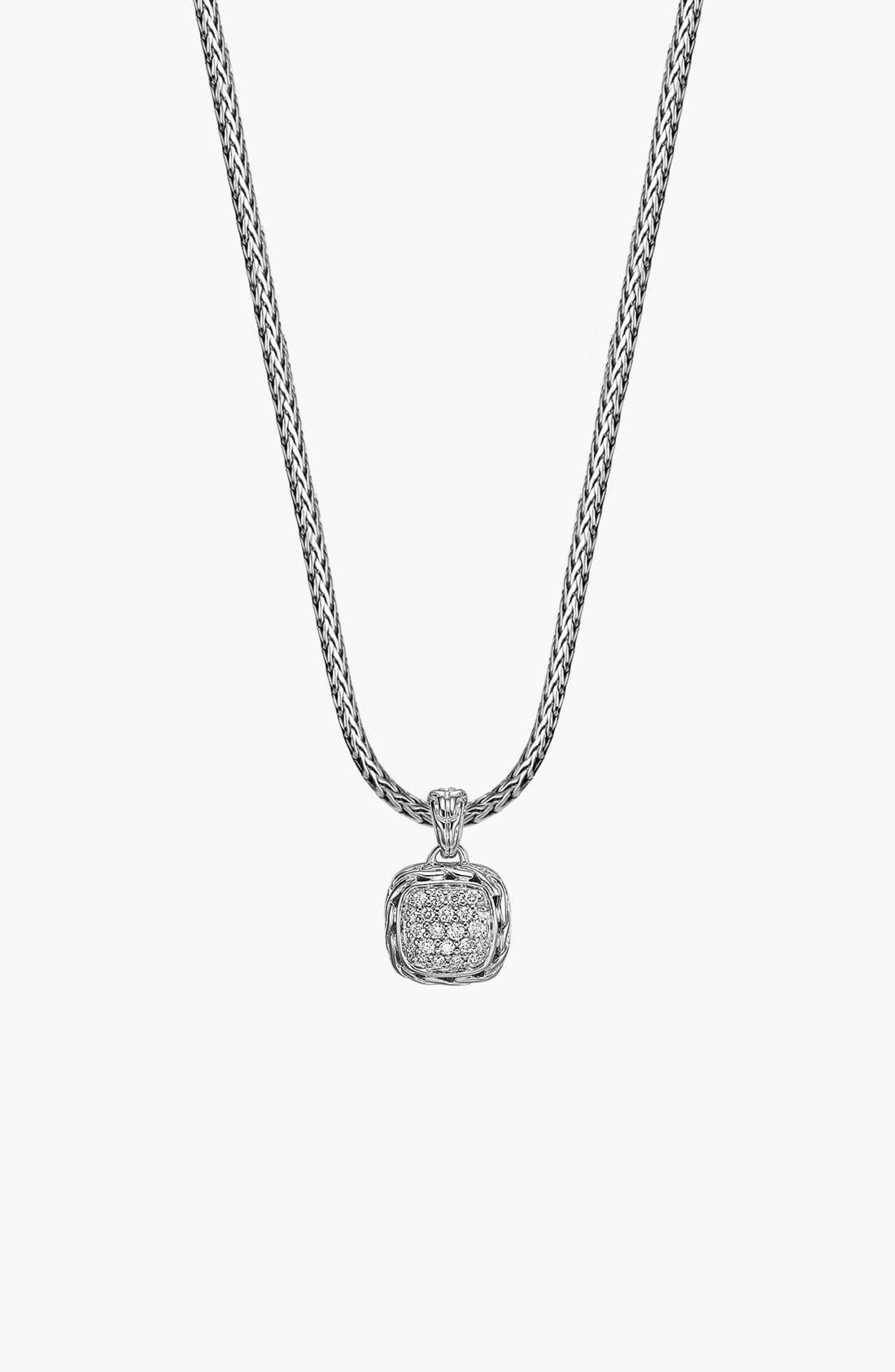 JOHN HARDY 'Classic Chain' Pavé Diamond Pendant Necklace, Main, color, SILVER
