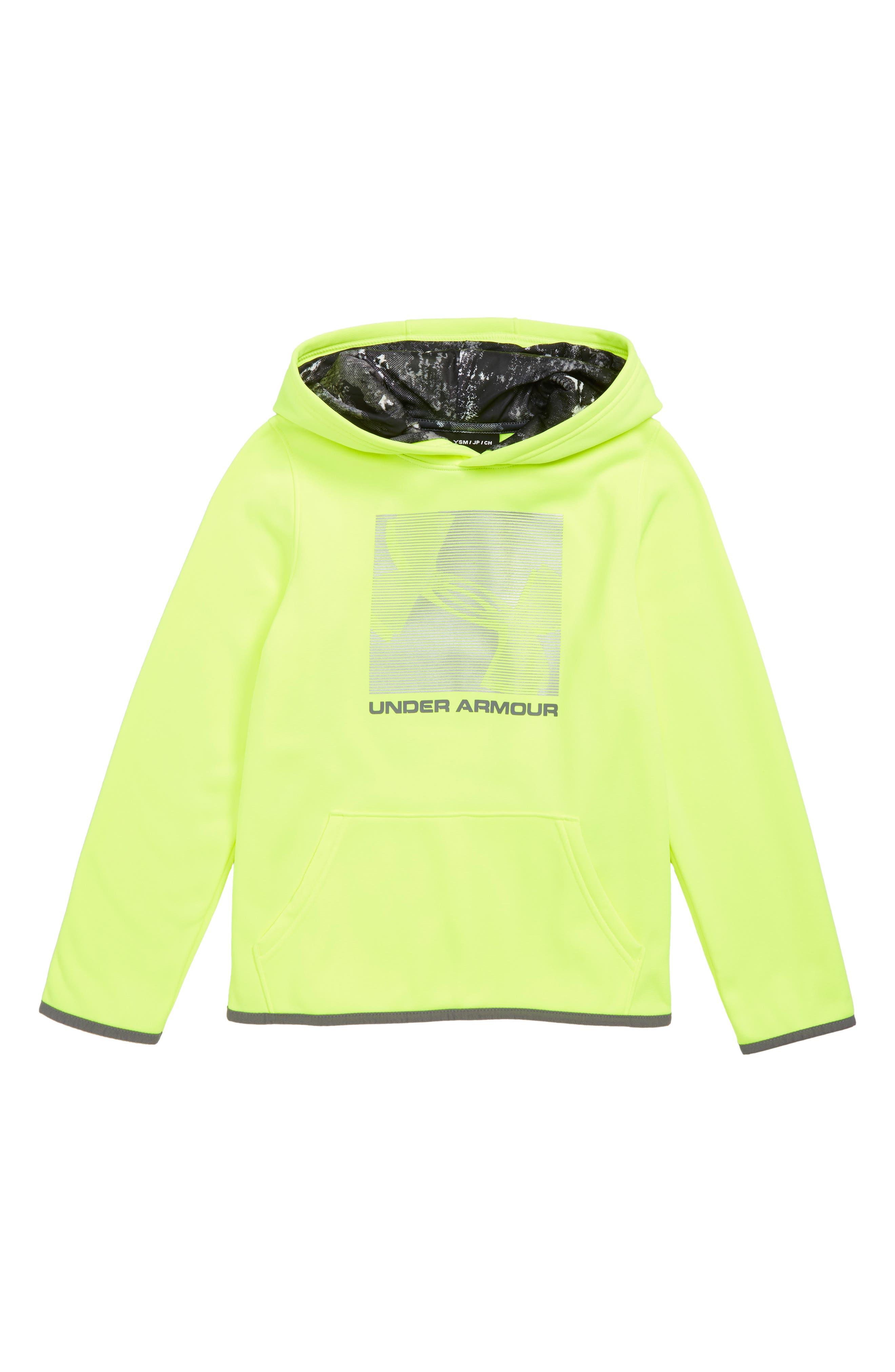 Armour Fleece<sup>®</sup> Logo Graphic Hoodie,                         Main,                         color, HIGH-VIS YELLOW / / GRAPHITE