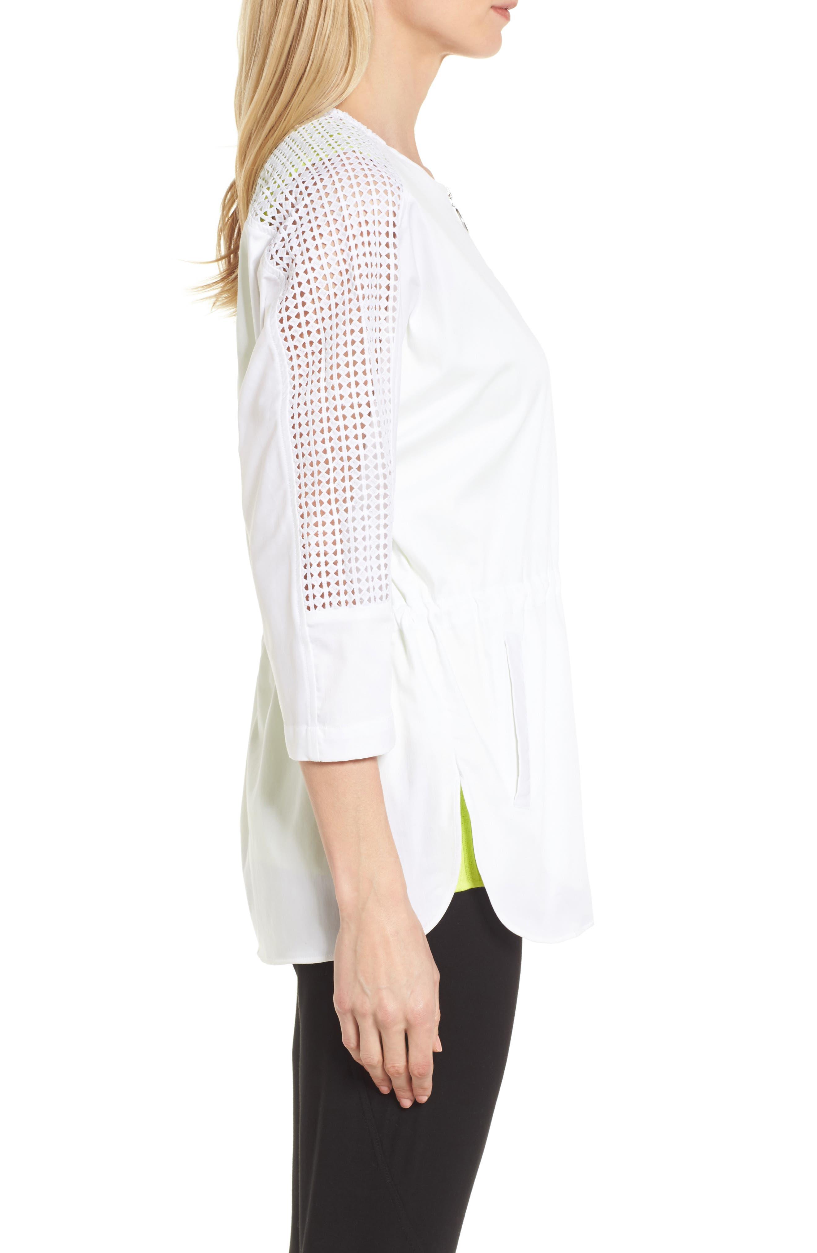 Eyelet Sleeve Front Zip Jacket,                             Alternate thumbnail 3, color,                             WHITE/ BLACK