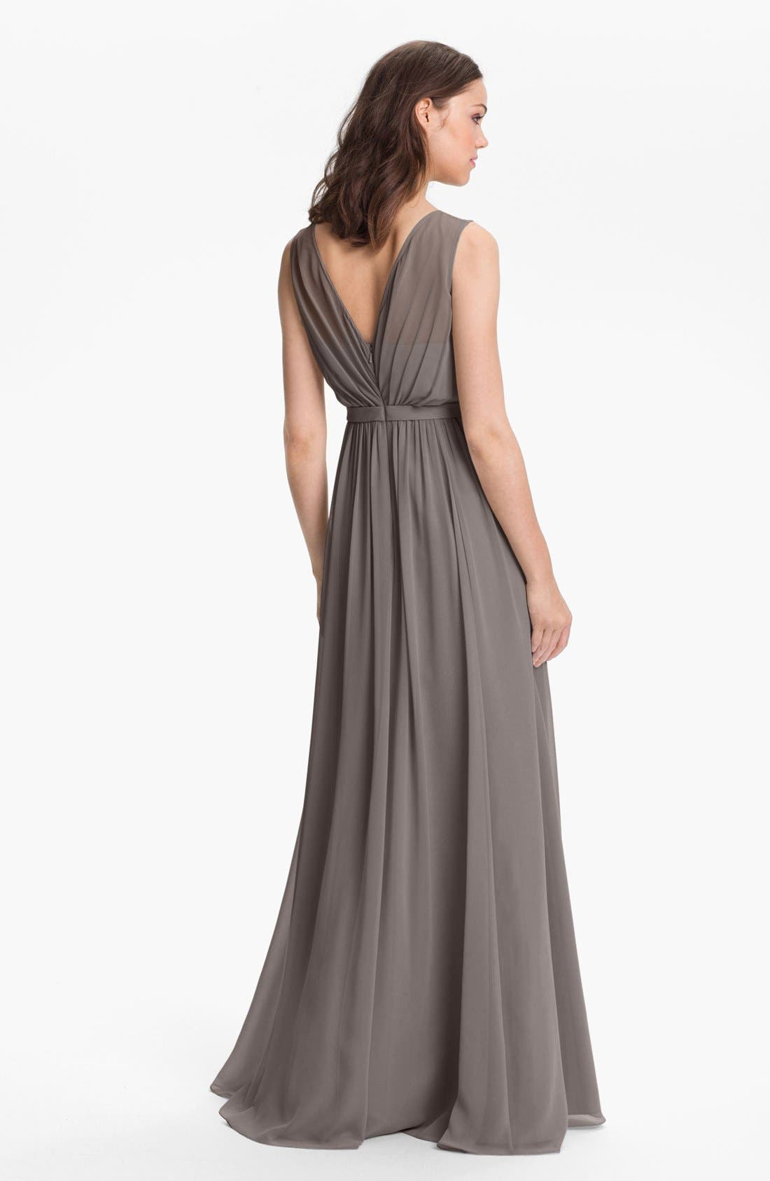 Vivienne Pleated Chiffon Gown,                             Alternate thumbnail 17, color,