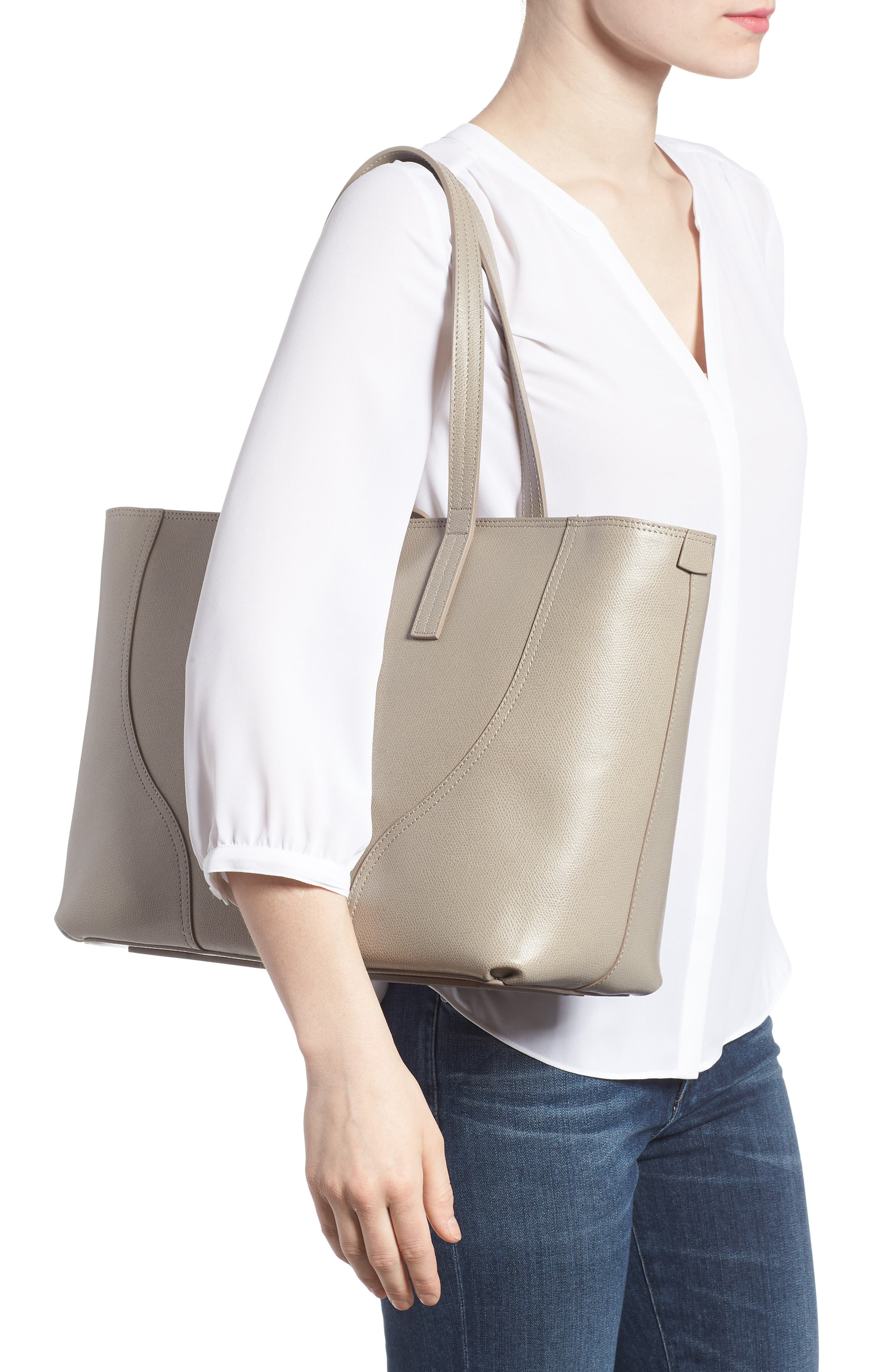 Voya Pebbled Leather Tote,                             Alternate thumbnail 2, color,                             SAND