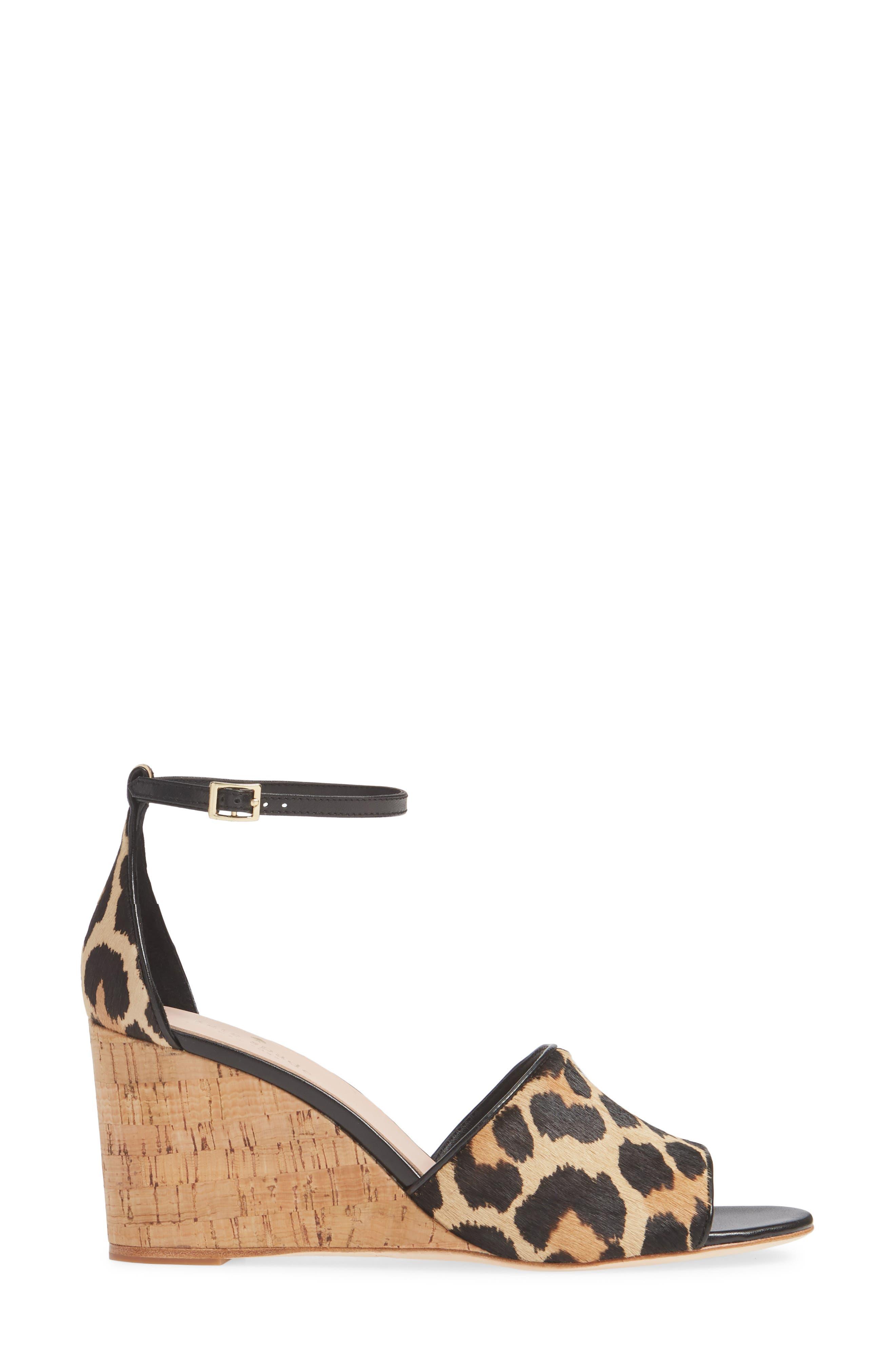 KATE SPADE NEW YORK,                             lonnie genuine calf hair wedge sandal,                             Alternate thumbnail 3, color,                             BLACK/ AMARETTO LEOPARD