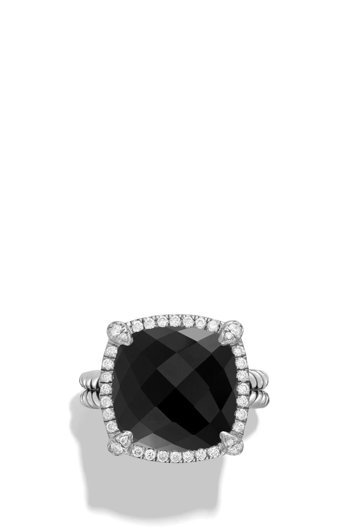 'Châtelaine' Large Pavé Bezel Ring with Diamonds,                             Alternate thumbnail 2, color,                             BLACK ONYX