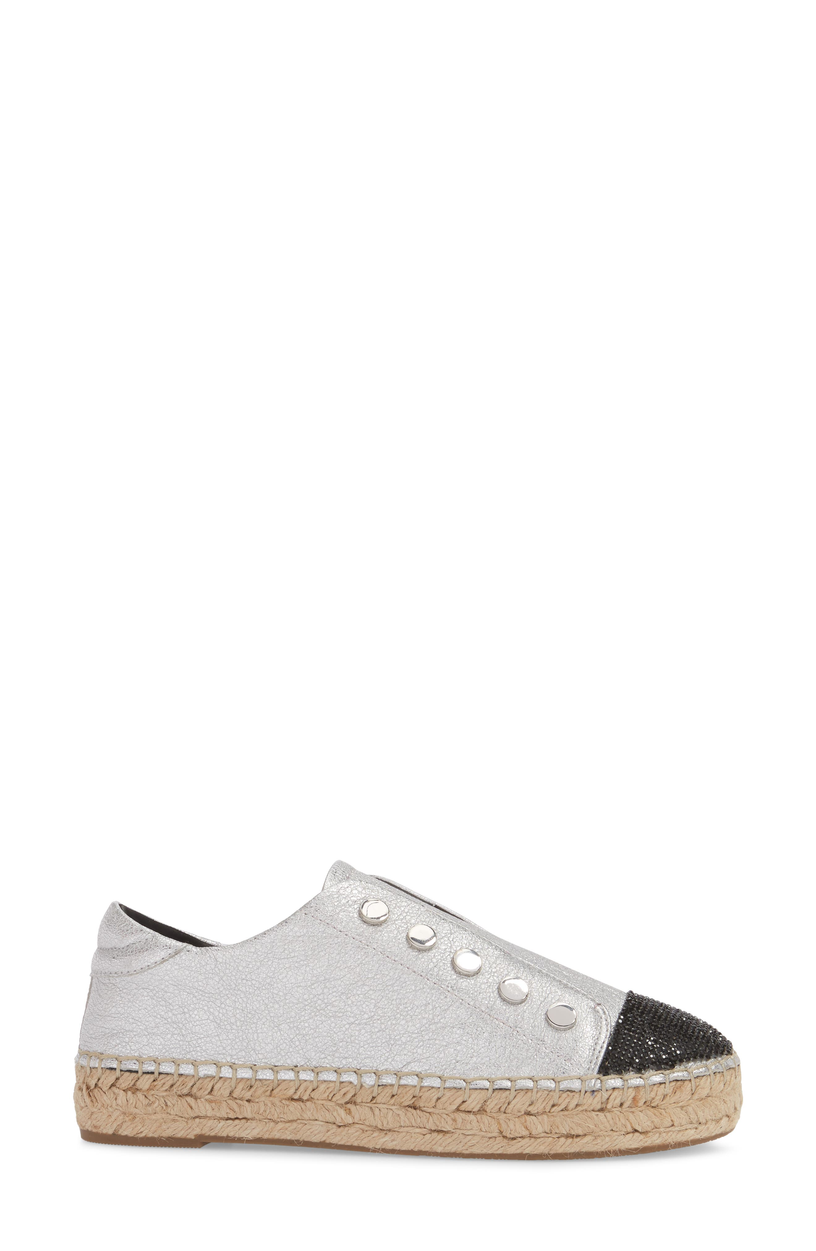 Juniper Espadrille Sneaker,                             Alternate thumbnail 3, color,                             SILVER