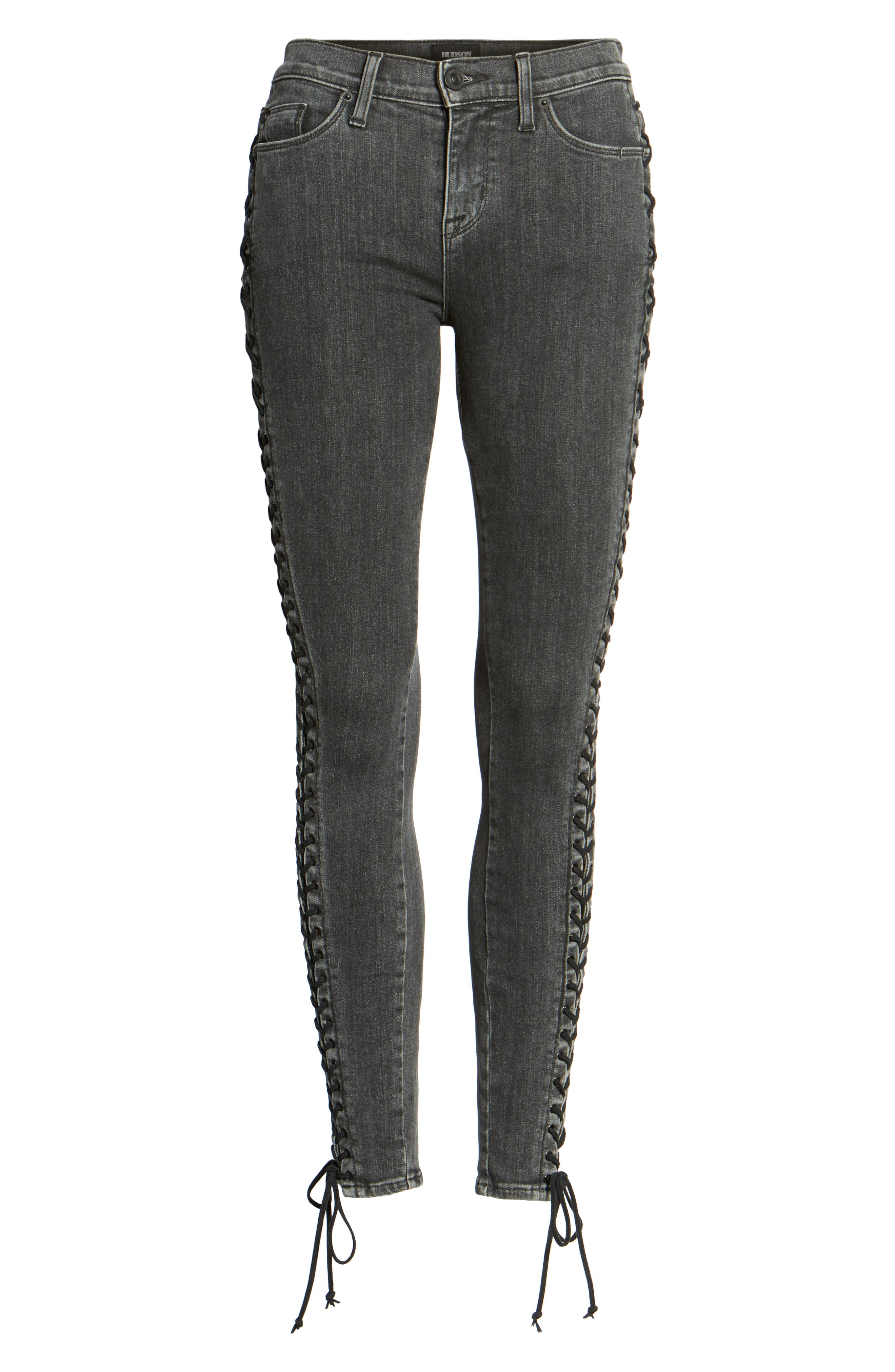 Stevie Lace-Up Skinny Jeans,                             Alternate thumbnail 6, color,