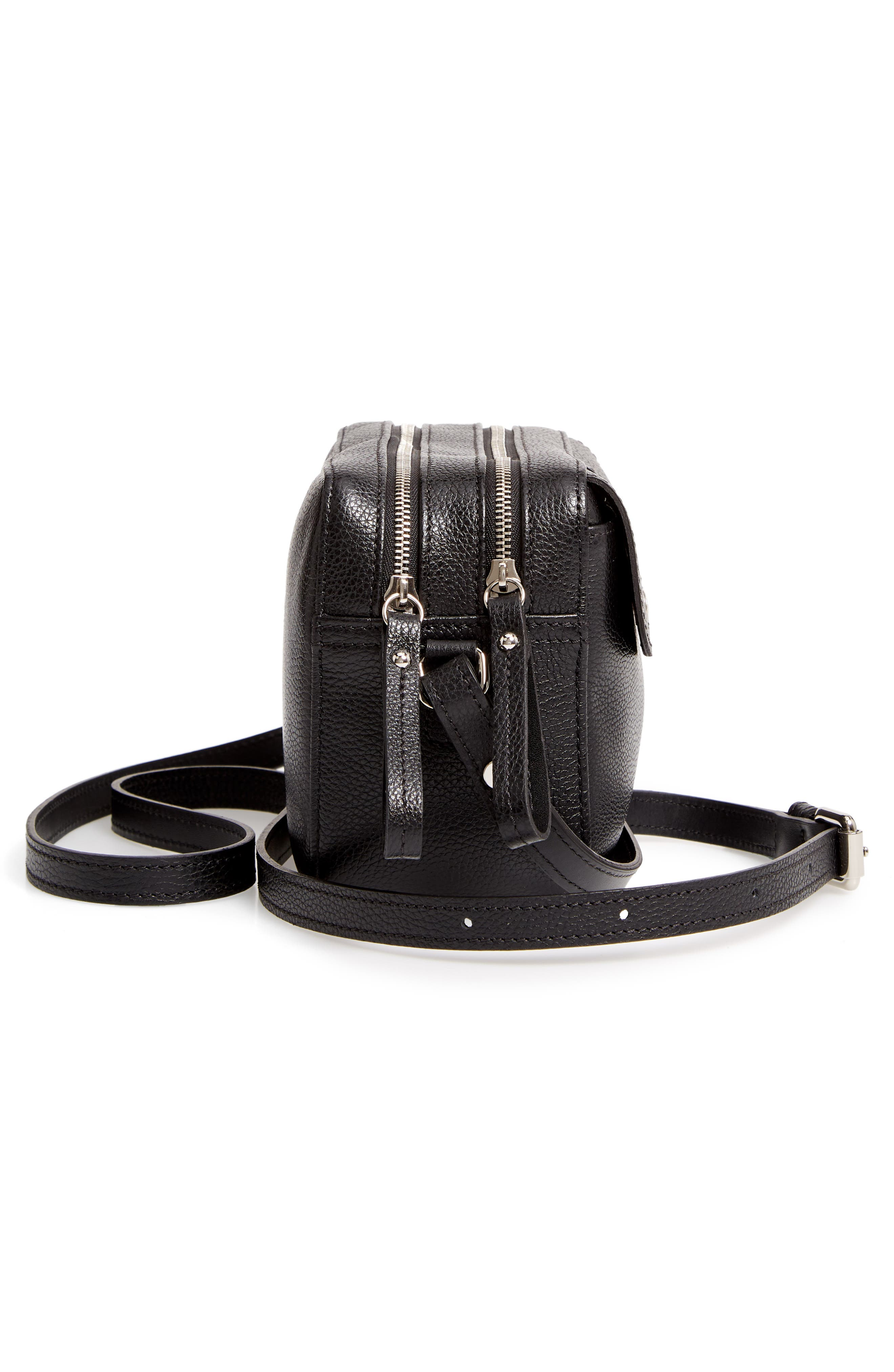 Le Foulonné Leather Camera Bag,                             Alternate thumbnail 5, color,                             BLACK