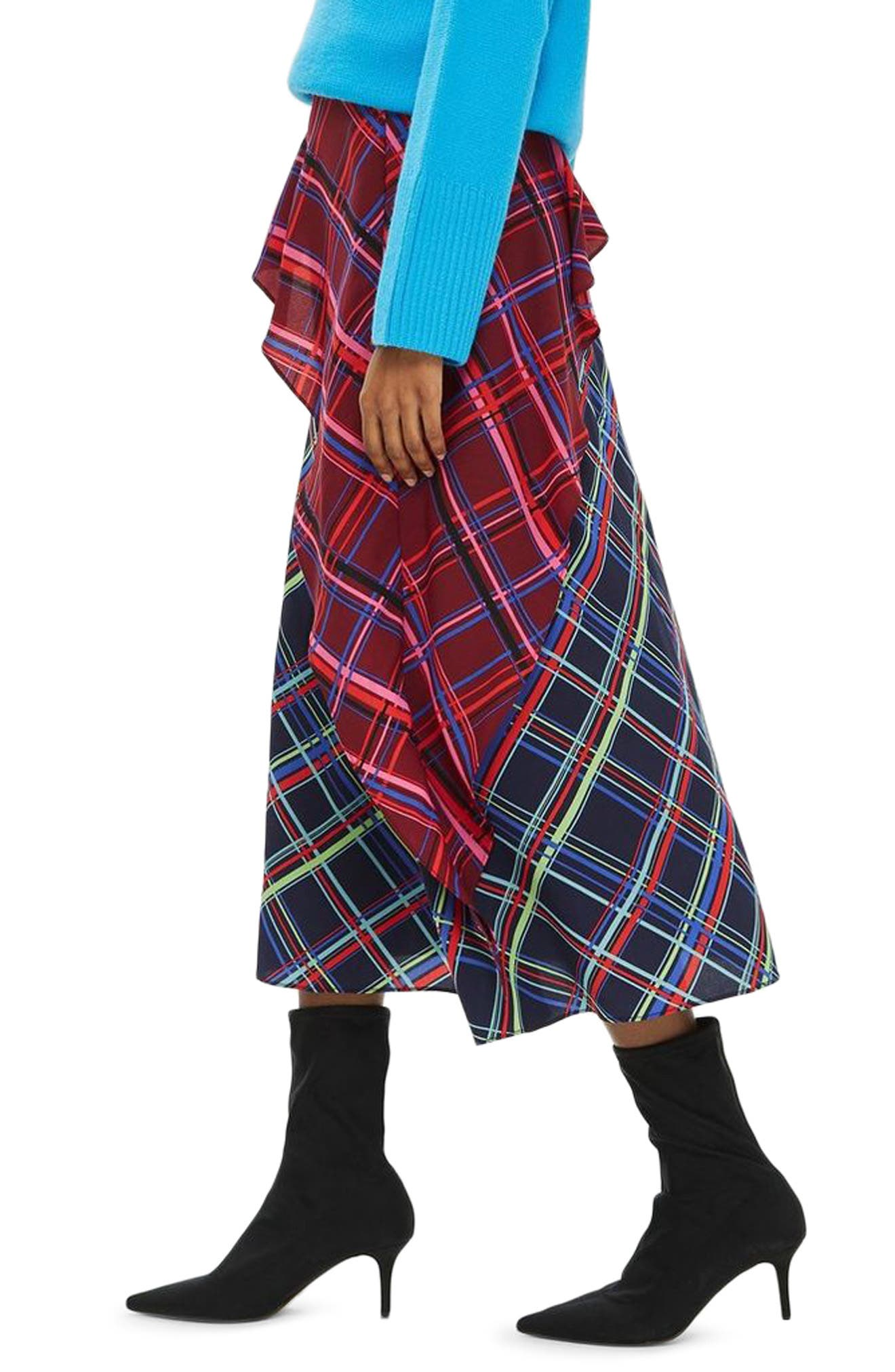 Clan Clash Check Midi Skirt,                             Alternate thumbnail 3, color,                             NAVY BLUE