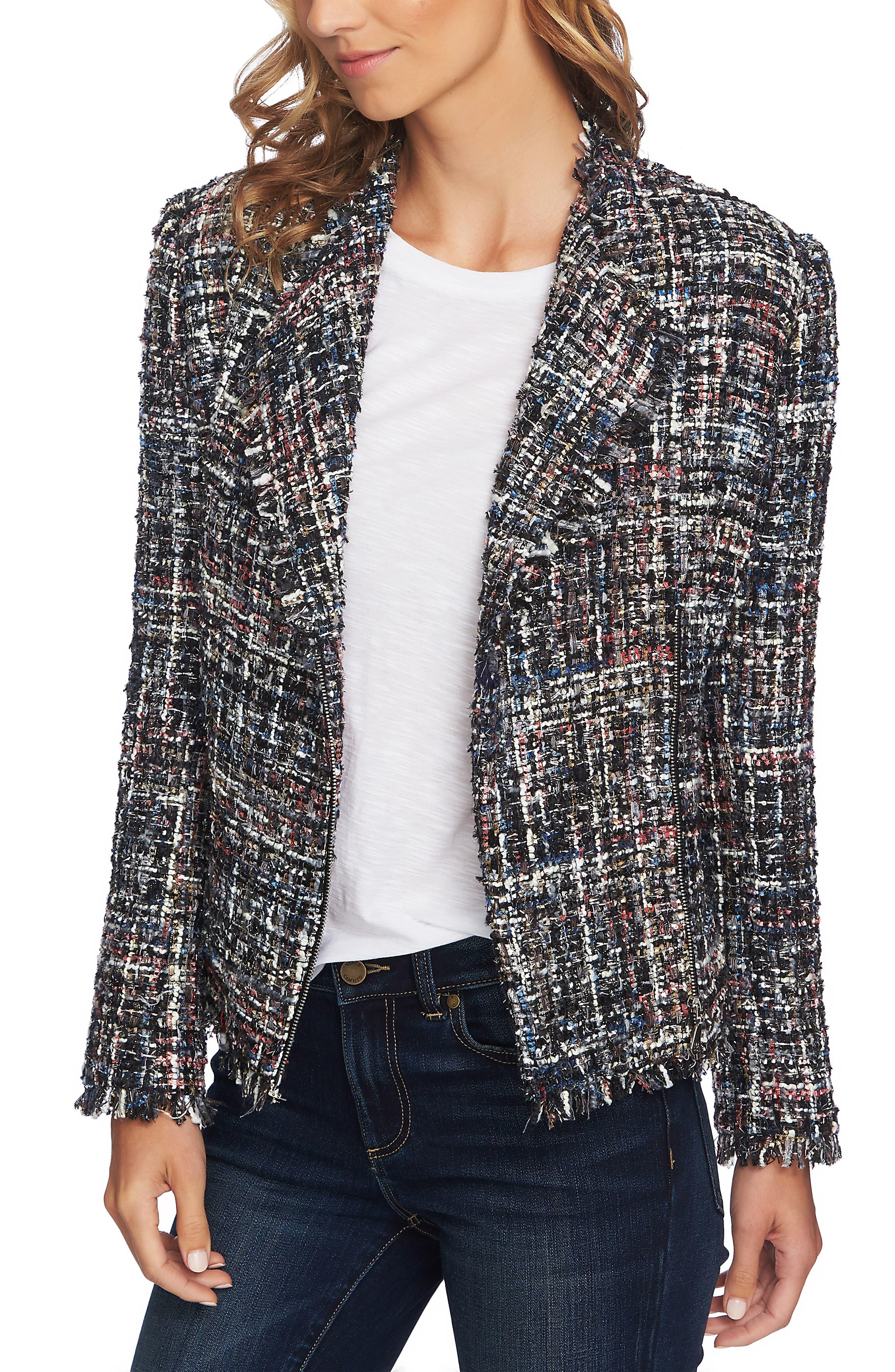 Multi Tweed Moto Jacket,                             Main thumbnail 1, color,                             RICH BLACK