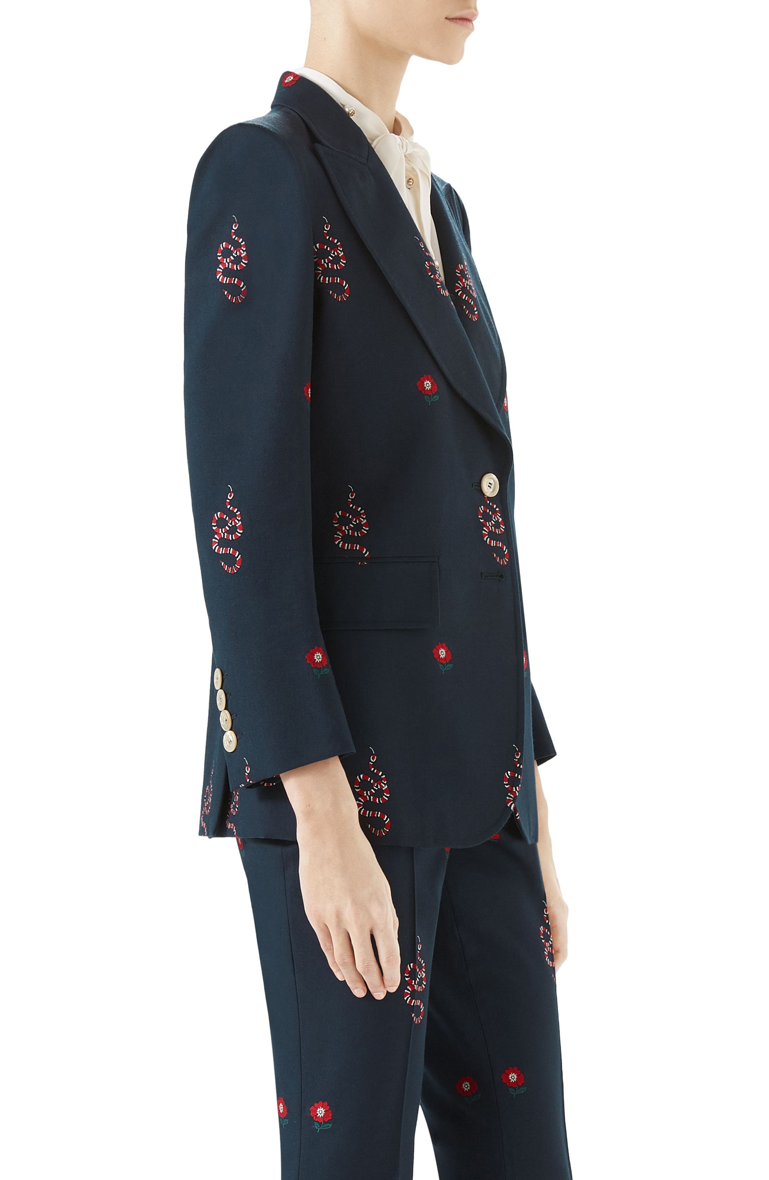 Snake Embroidered Cotton Blazer,                             Alternate thumbnail 2, color,                             INK/ HIBISCUS RED/ MULTI