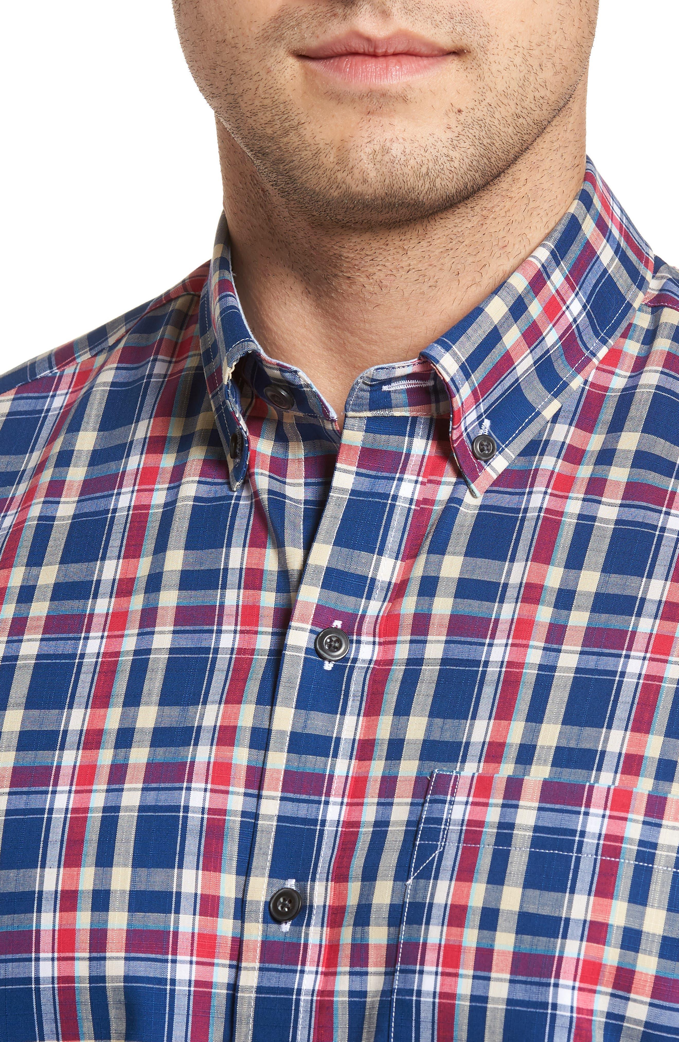 Sebastian Classic Fit Non-Iron Plaid Sport Shirt,                             Alternate thumbnail 8, color,