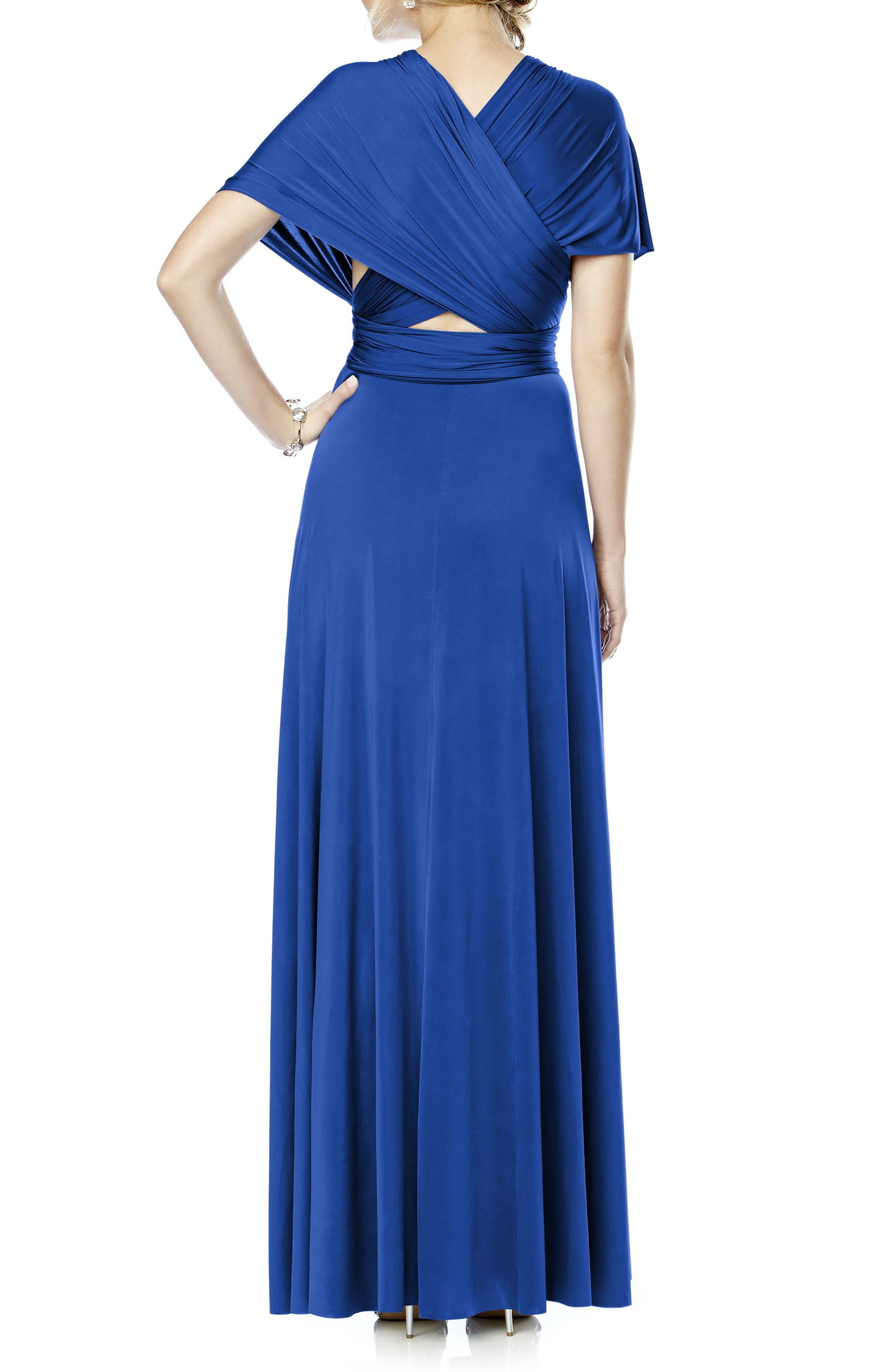 Convertible Wrap Tie Surplice Jersey Gown,                             Alternate thumbnail 21, color,