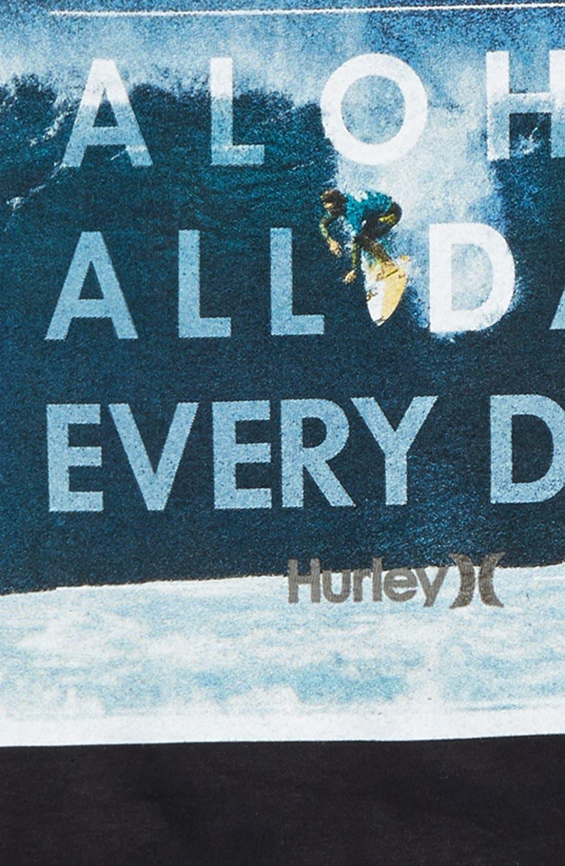 HURLEY,                             'Aloha All Day Every Day' Screenprint T-Shirt,                             Alternate thumbnail 2, color,                             001