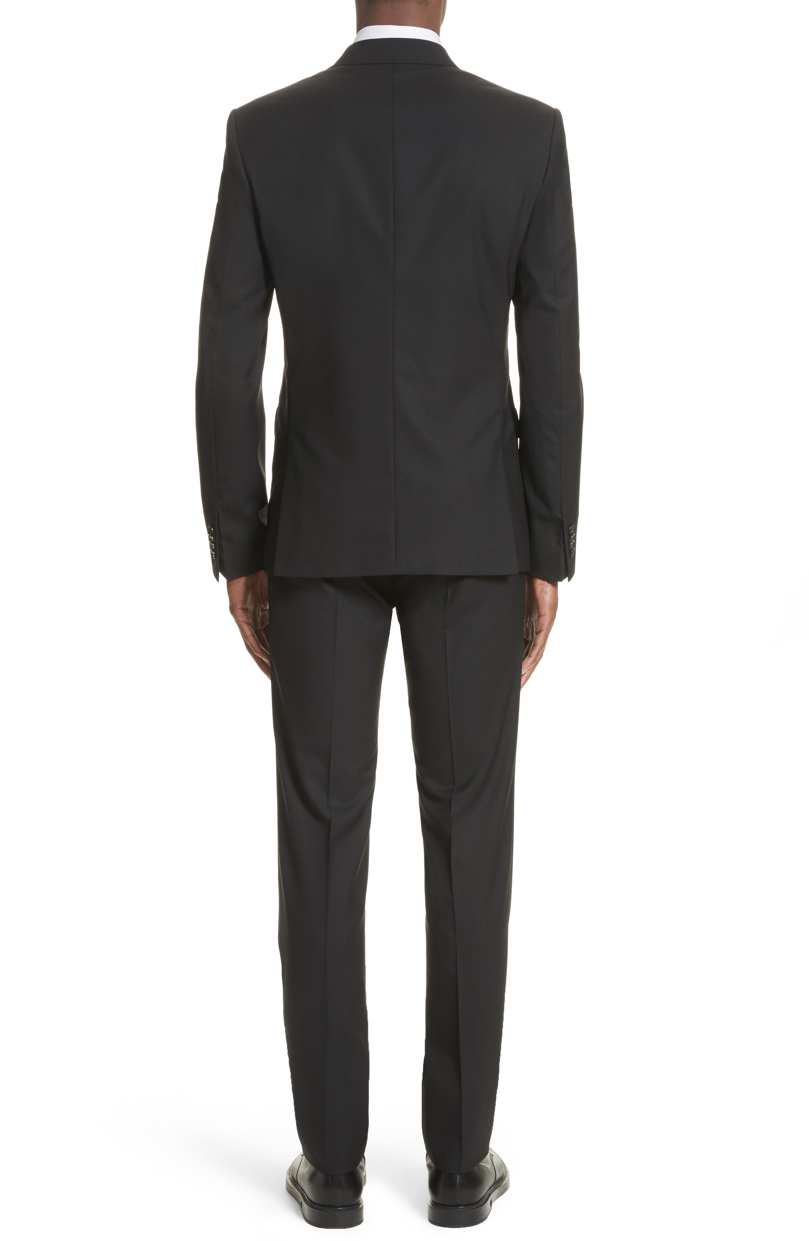 White Inset Madonna Collar Wool Suit,                             Alternate thumbnail 2, color,                             001