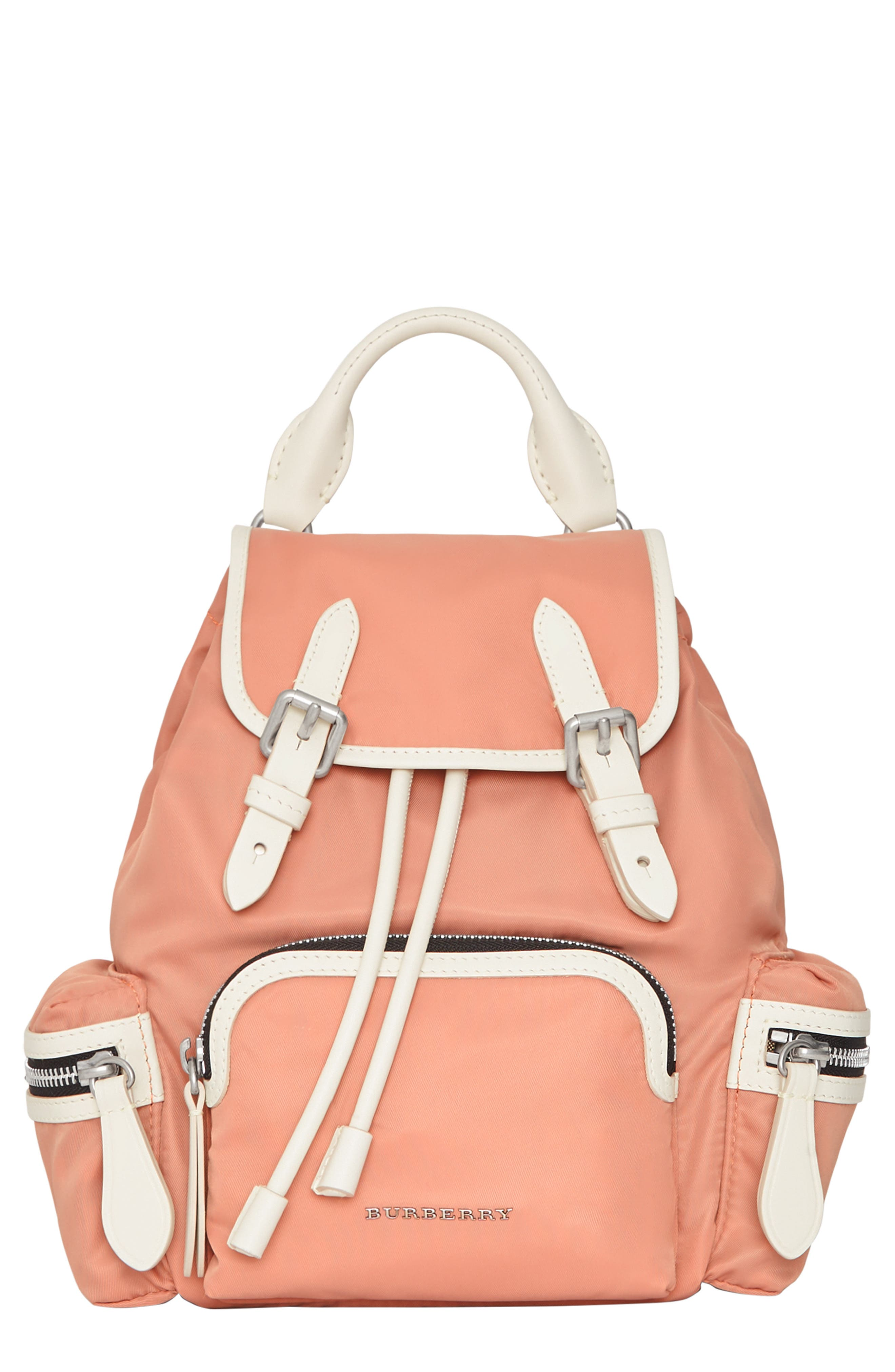 Small Rucksack Nylon Backpack,                             Main thumbnail 1, color,                             POWDER PINK