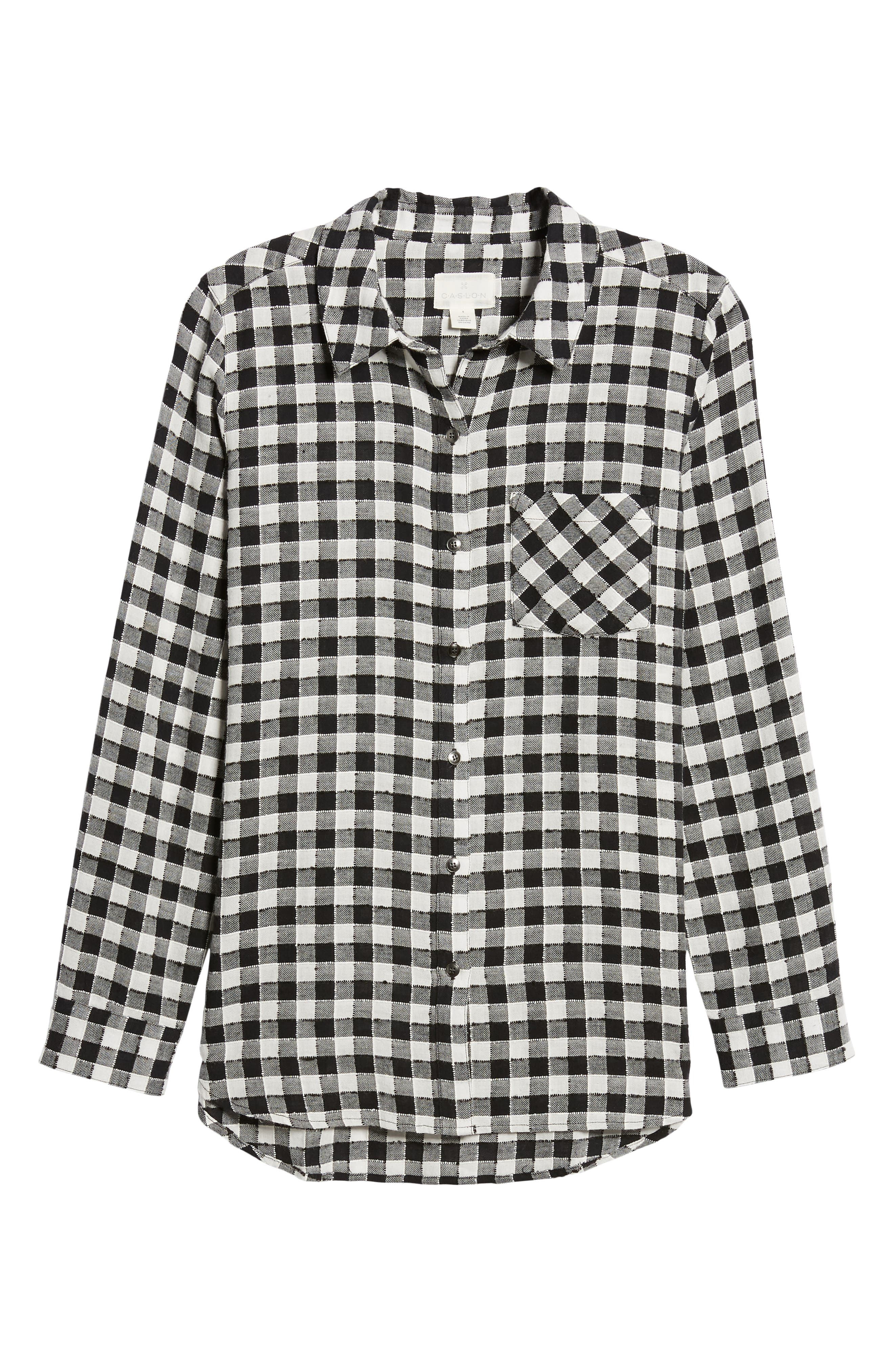 Checkered Button Down Shirt,                             Alternate thumbnail 6, color,                             001