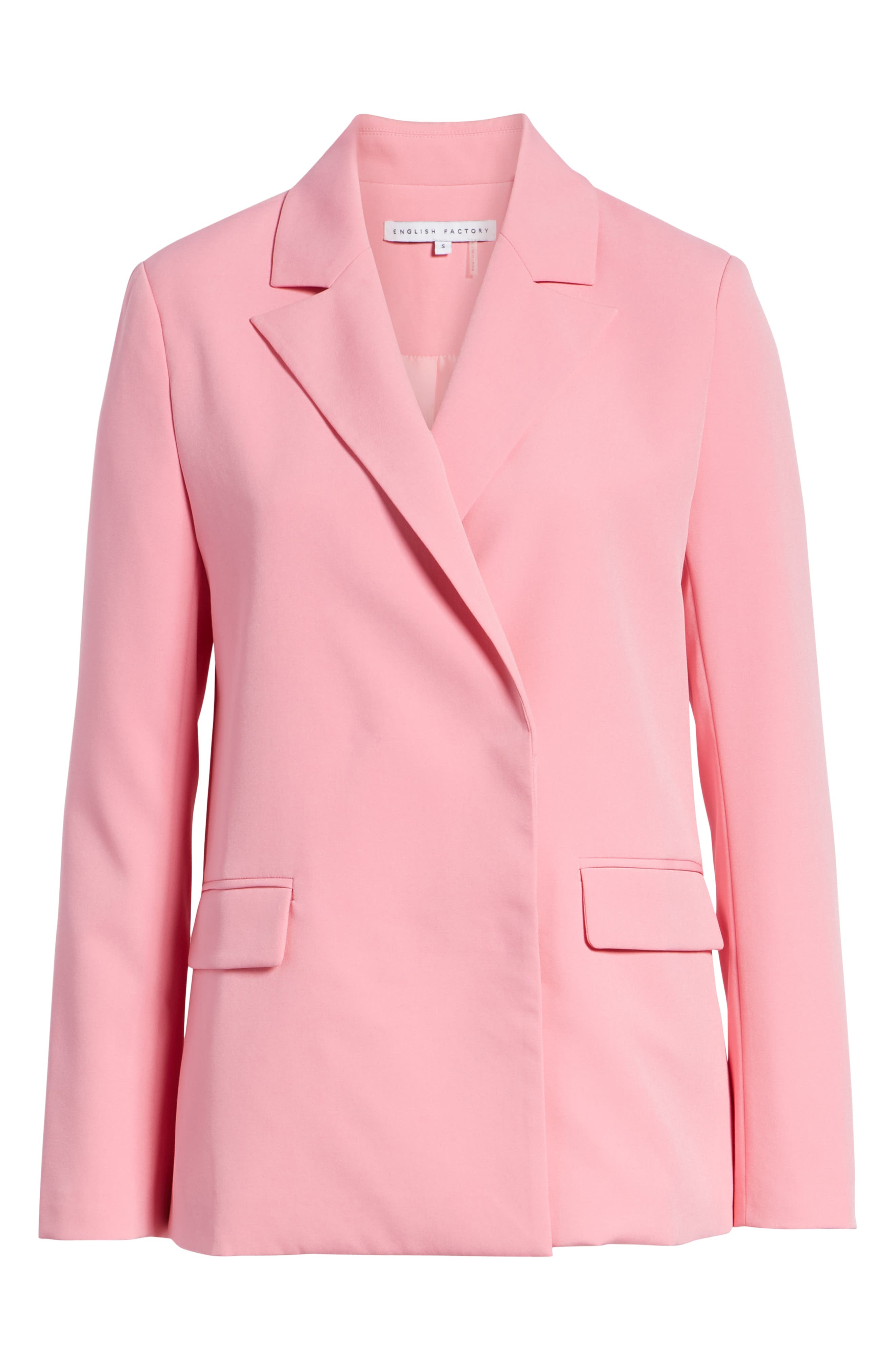 Peaked Lapel Jacket,                             Alternate thumbnail 5, color,                             CANDY PINK