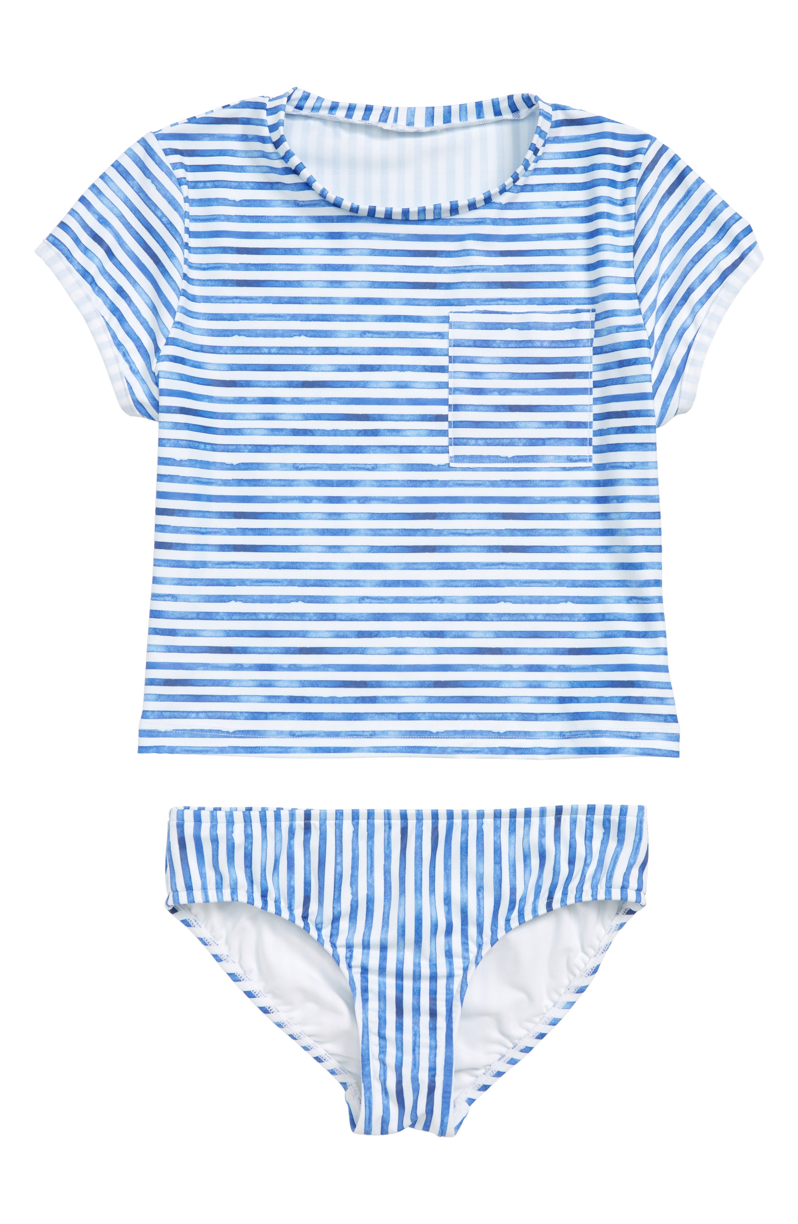 Tropical Vibes Stripe Two-Piece Swimsuit,                         Main,                         color, WHITE/ BLUE