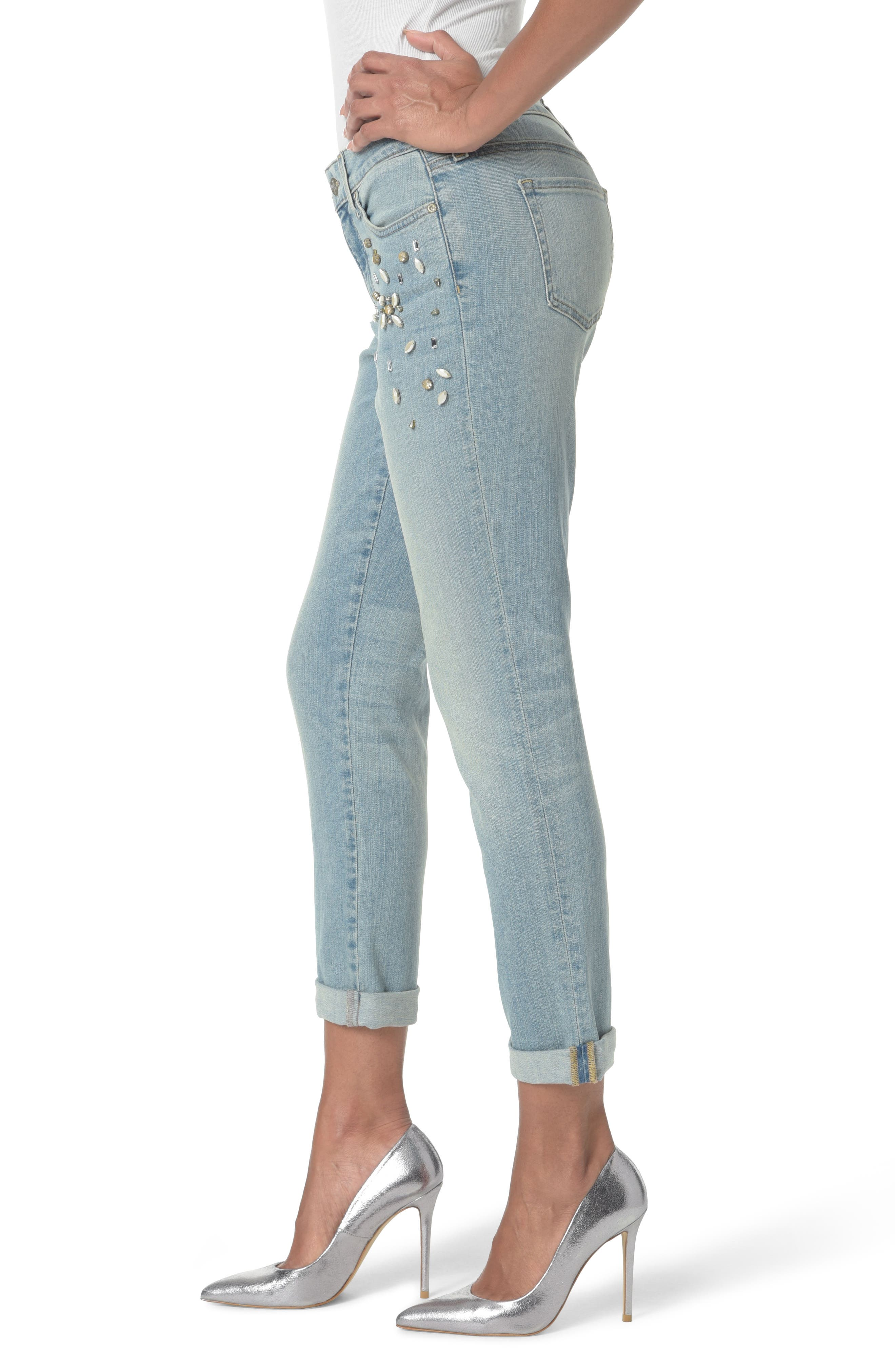 Embellished Boyfriend Jeans,                             Alternate thumbnail 3, color,                             453