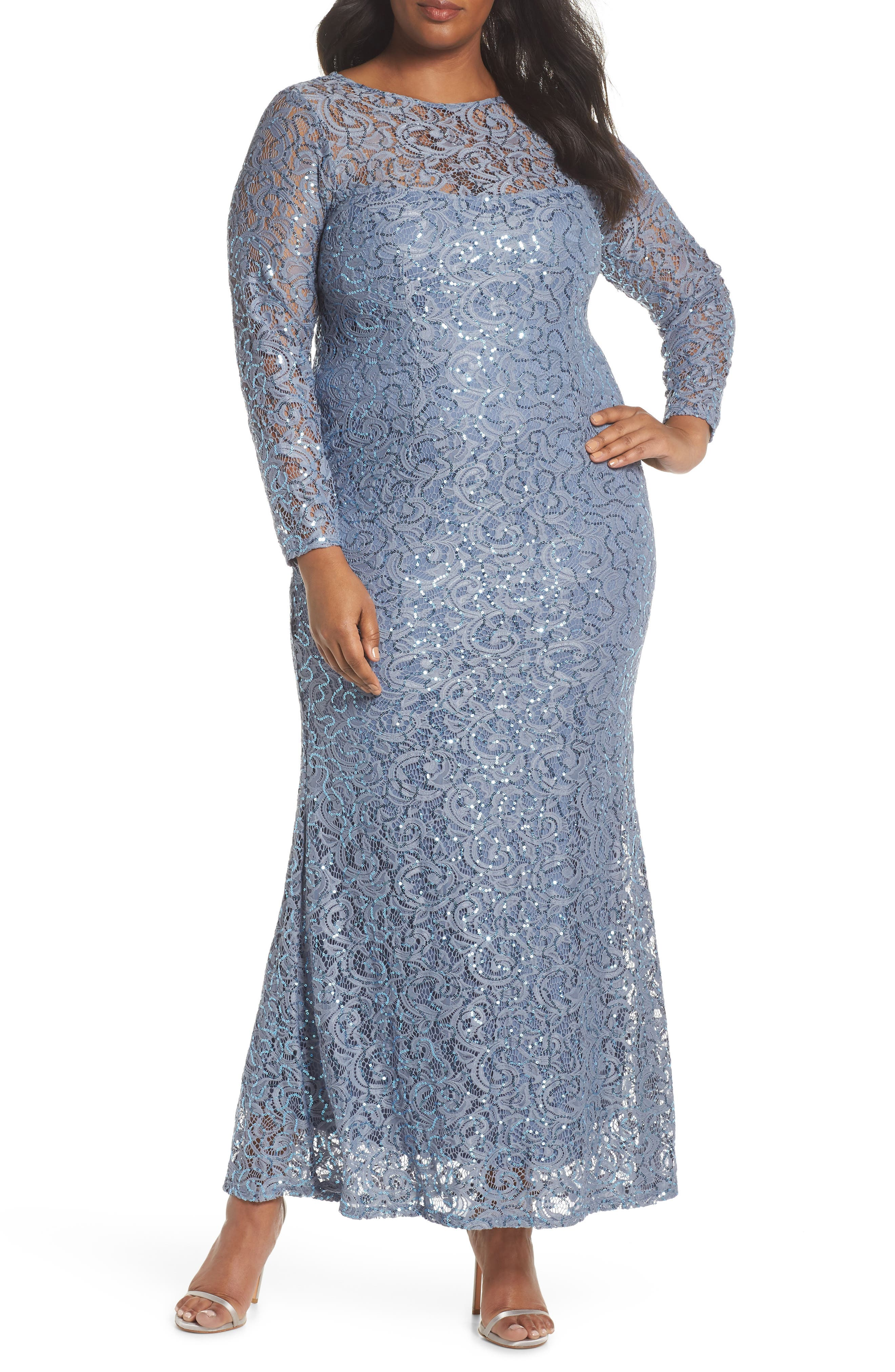 Illusion Yoke & Long Sleeve Lace Gown,                         Main,                         color, 400
