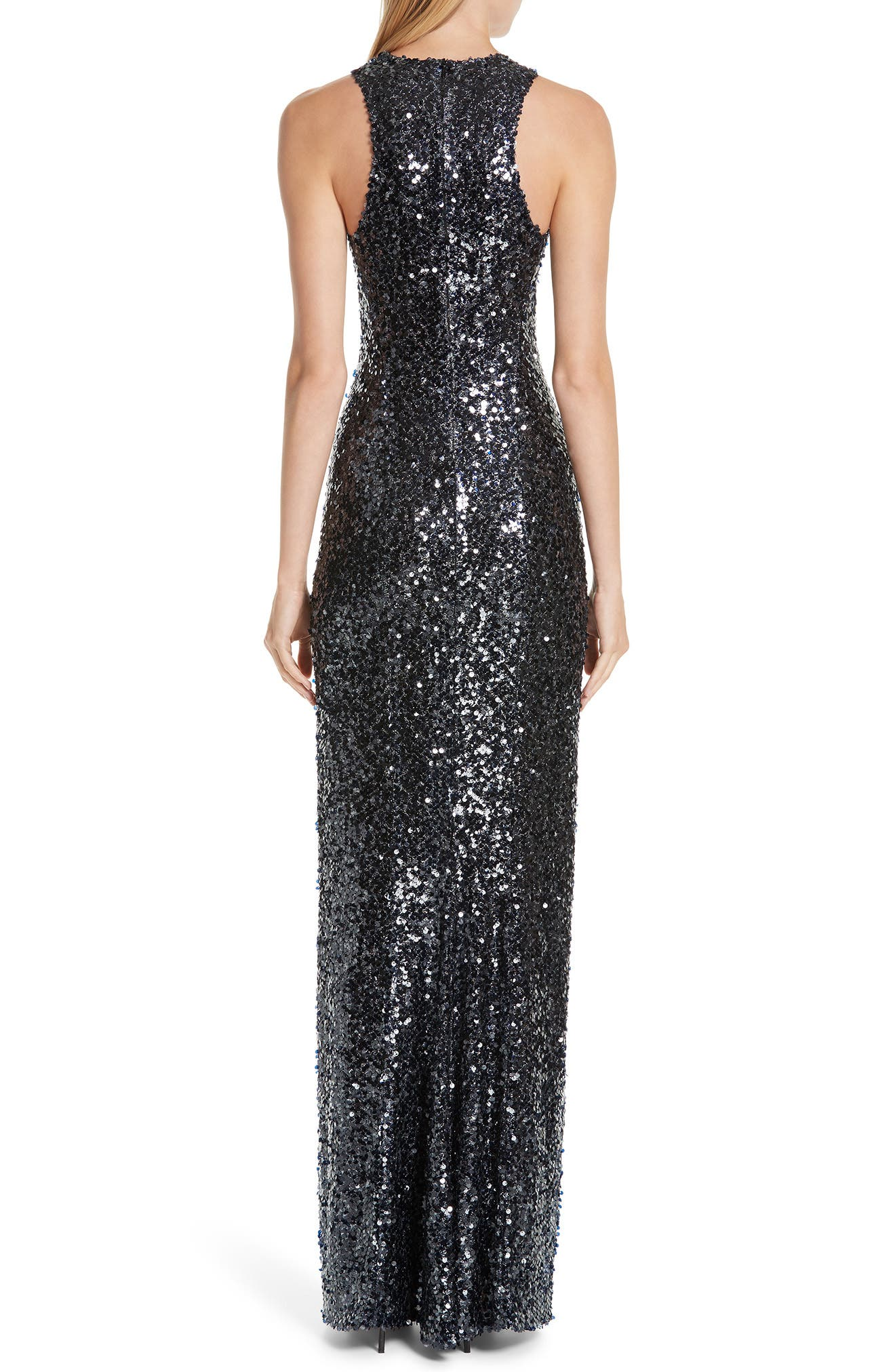 Sequin Racerback Gown,                             Alternate thumbnail 2, color,                             INKY BLUE BLACK