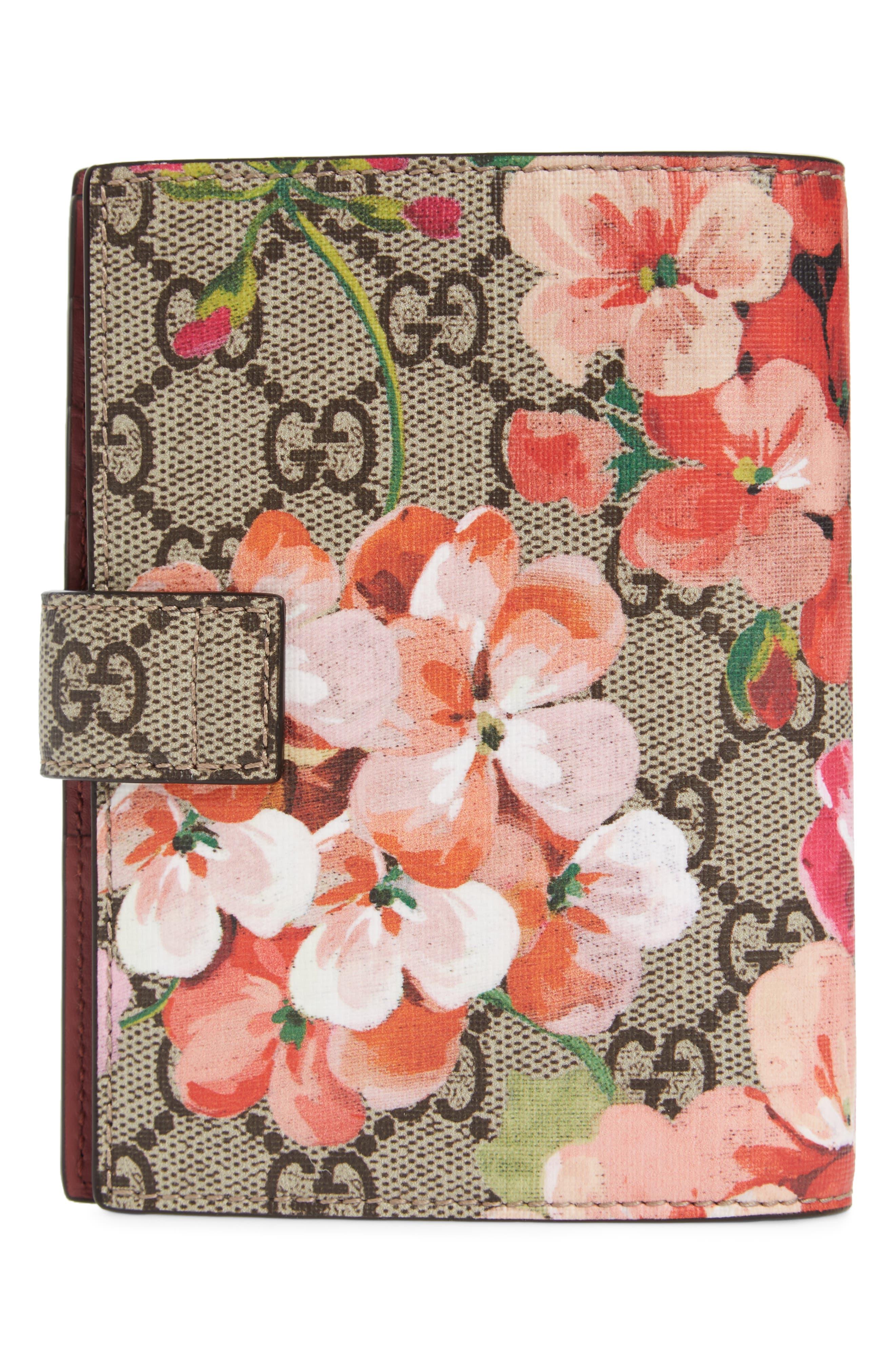 Blooms GG Canvas Passport Case,                             Alternate thumbnail 4, color,