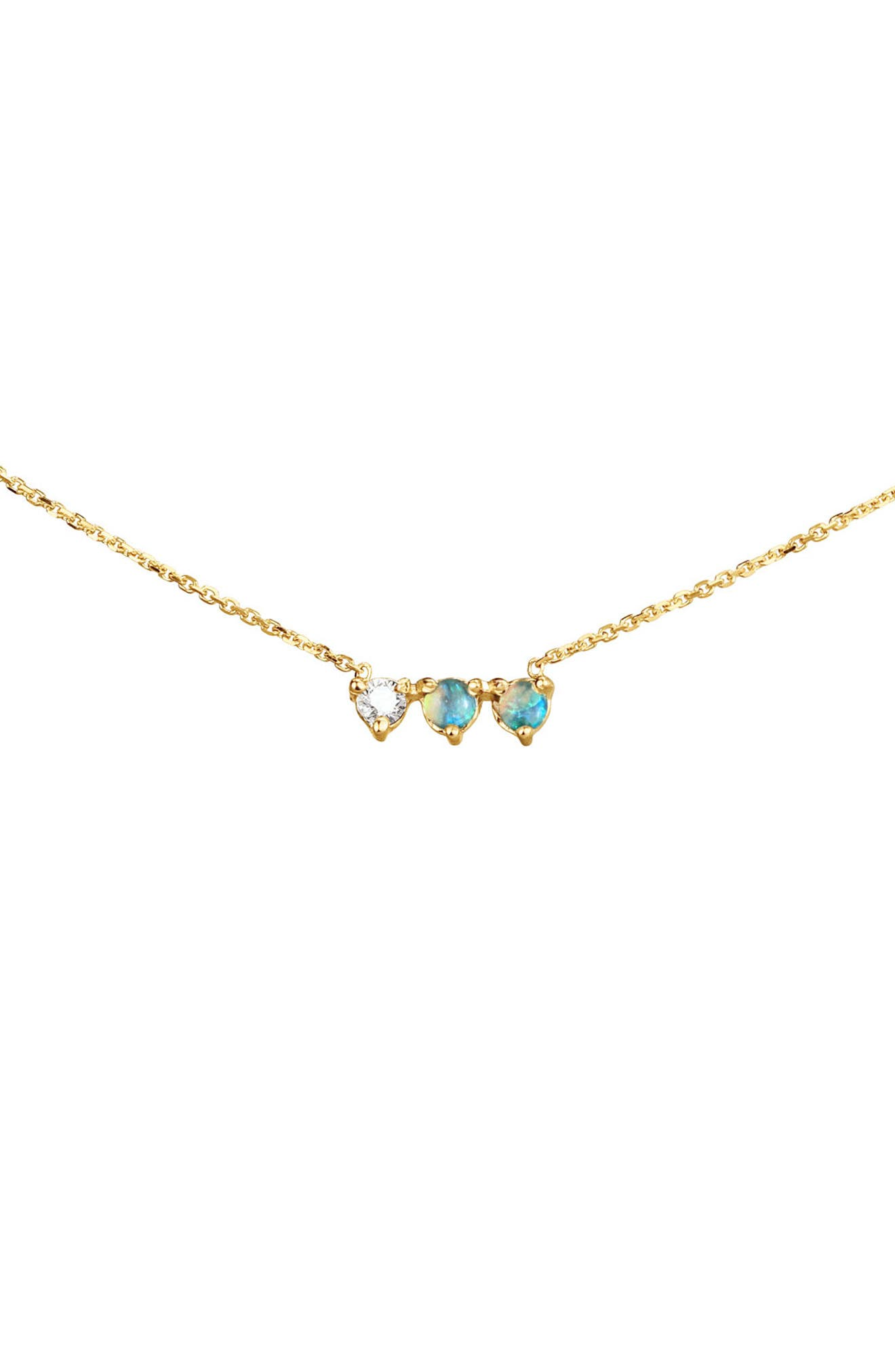 Three Points Opal & Diamond Necklace,                             Main thumbnail 1, color,                             14KT GOLD