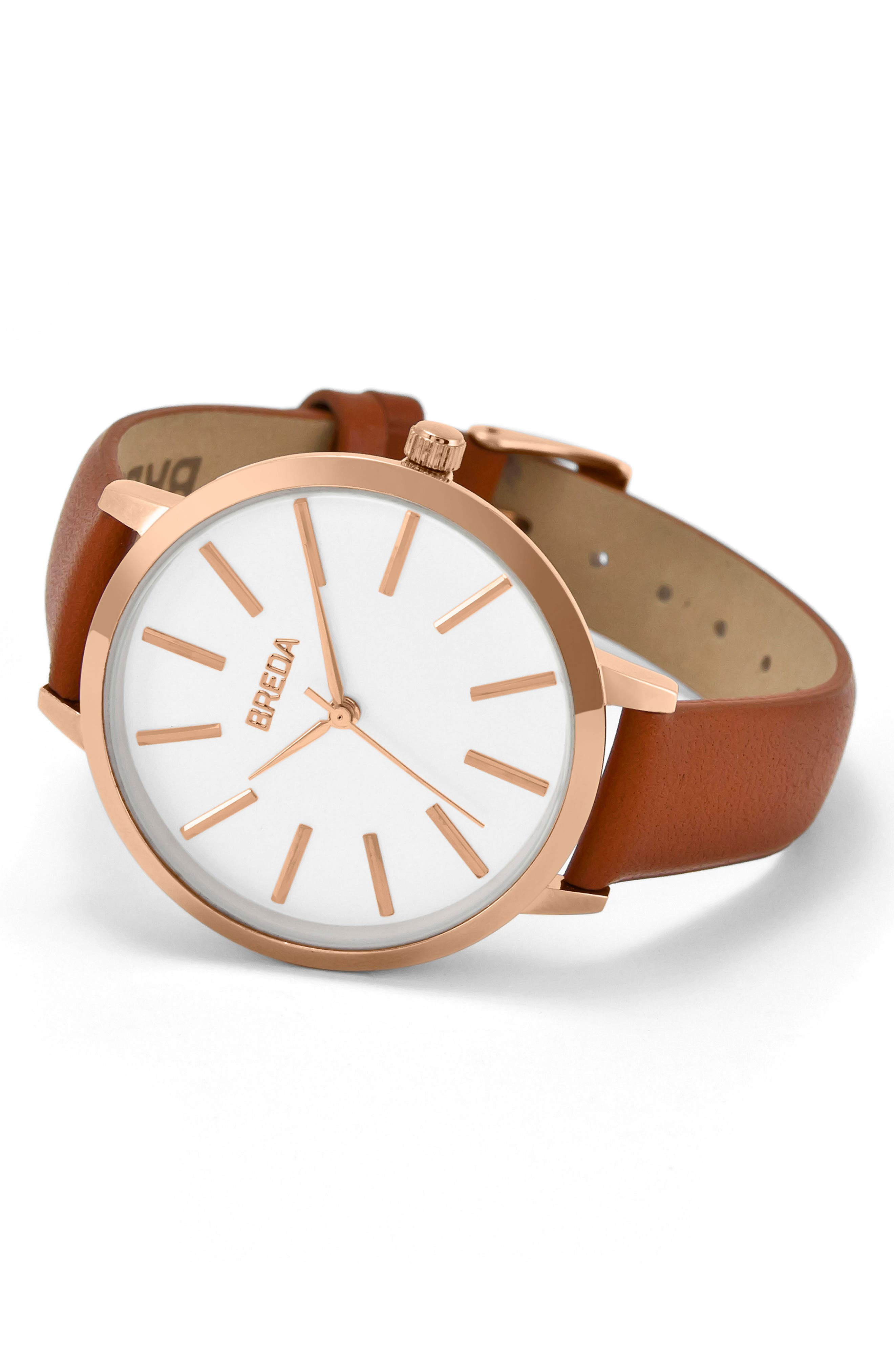 Joule Round Leather Strap Watch, 37mm,                             Alternate thumbnail 4, color,