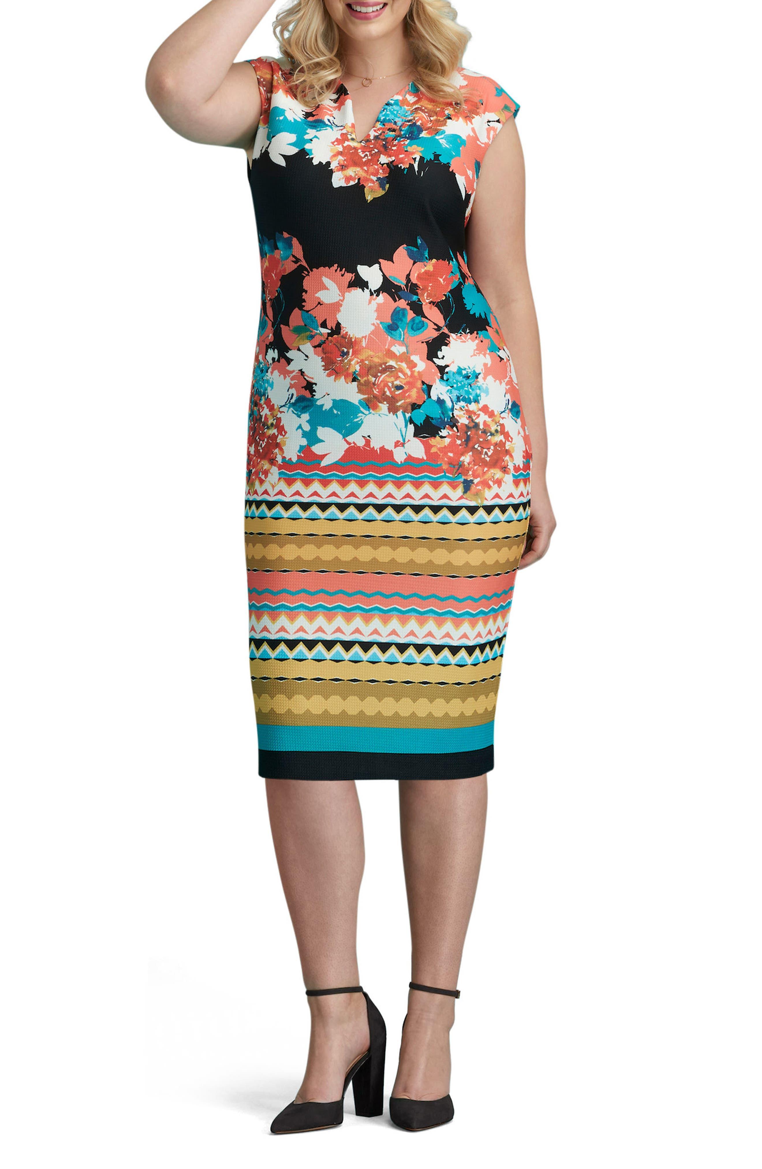 Print Piqué Sheath Dress,                         Main,                         color, 008
