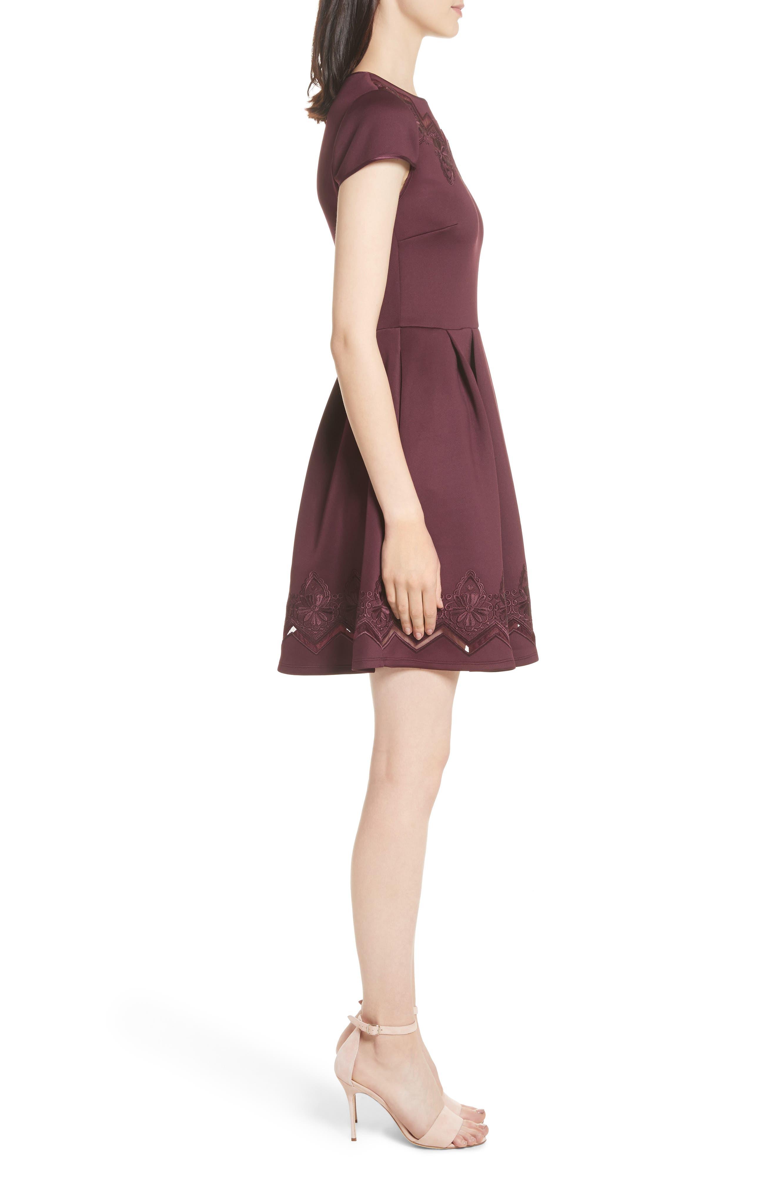 Mesh & Lace Trim Skater Dress,                             Alternate thumbnail 6, color,
