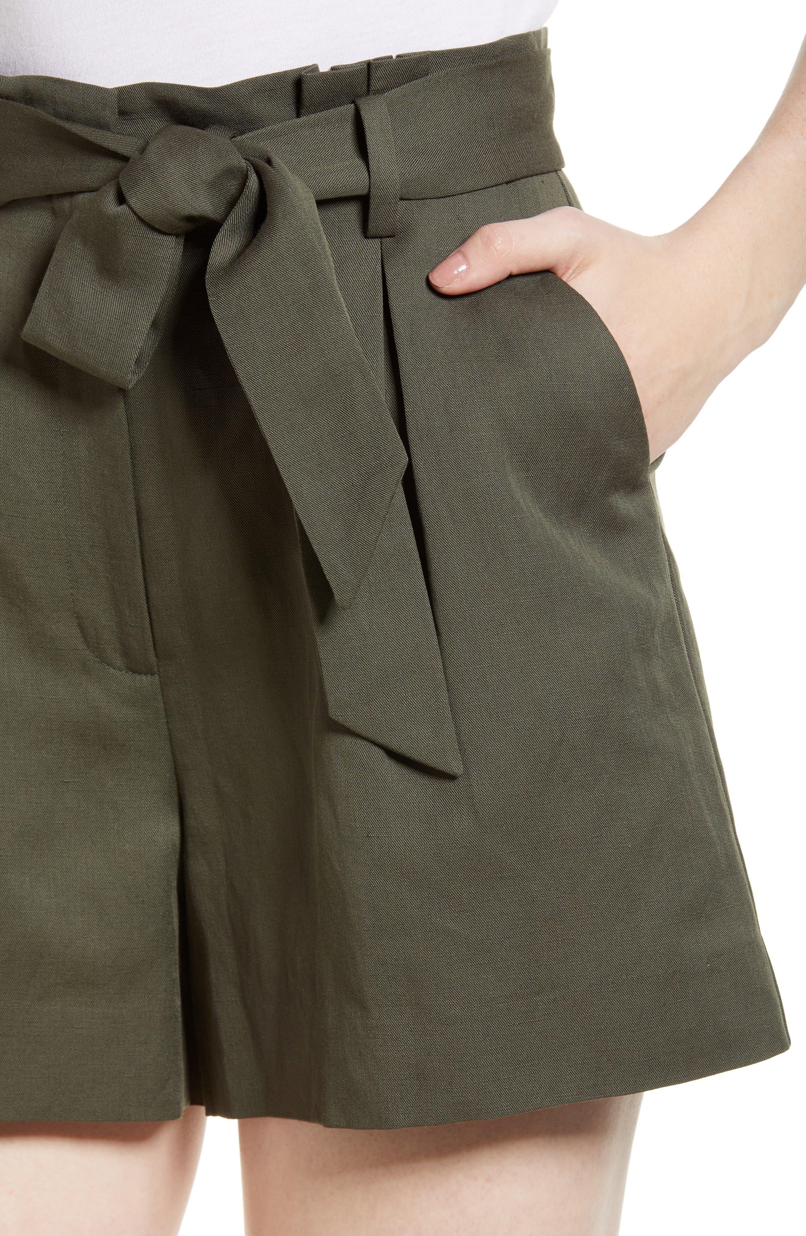 Paperbag Waist Linen & Cotton Blend Shorts,                             Alternate thumbnail 4, color,                             301