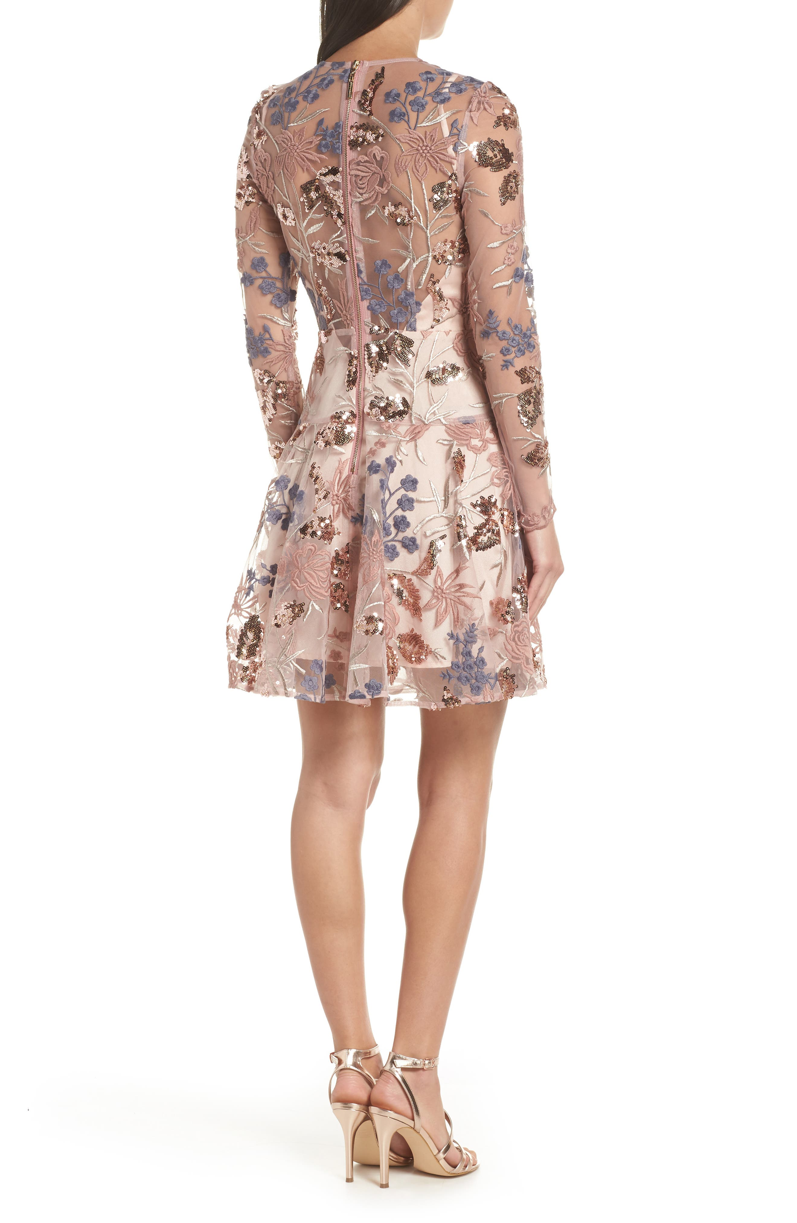 BRONX AND BANCO,                             Aurora Embroidered Fit & Flare Dress,                             Alternate thumbnail 2, color,                             PINK