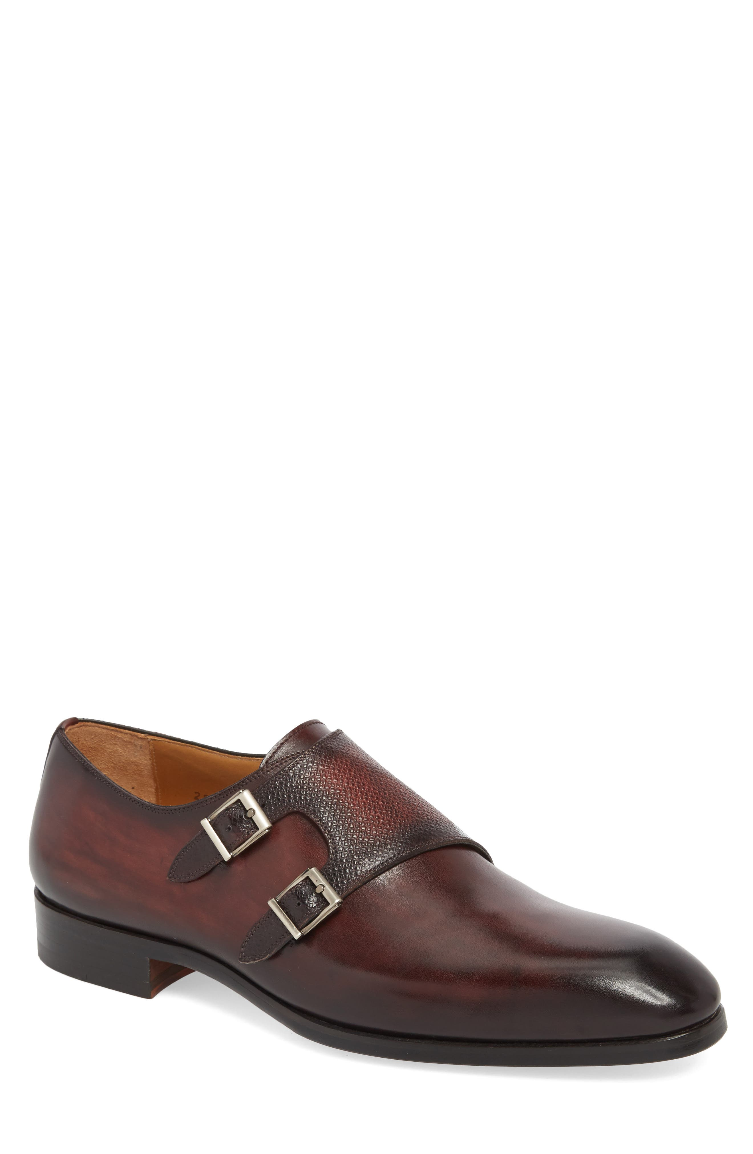 Arlo Pebbled Monk Shoe,                         Main,                         color, BURGUNDY LEATHER