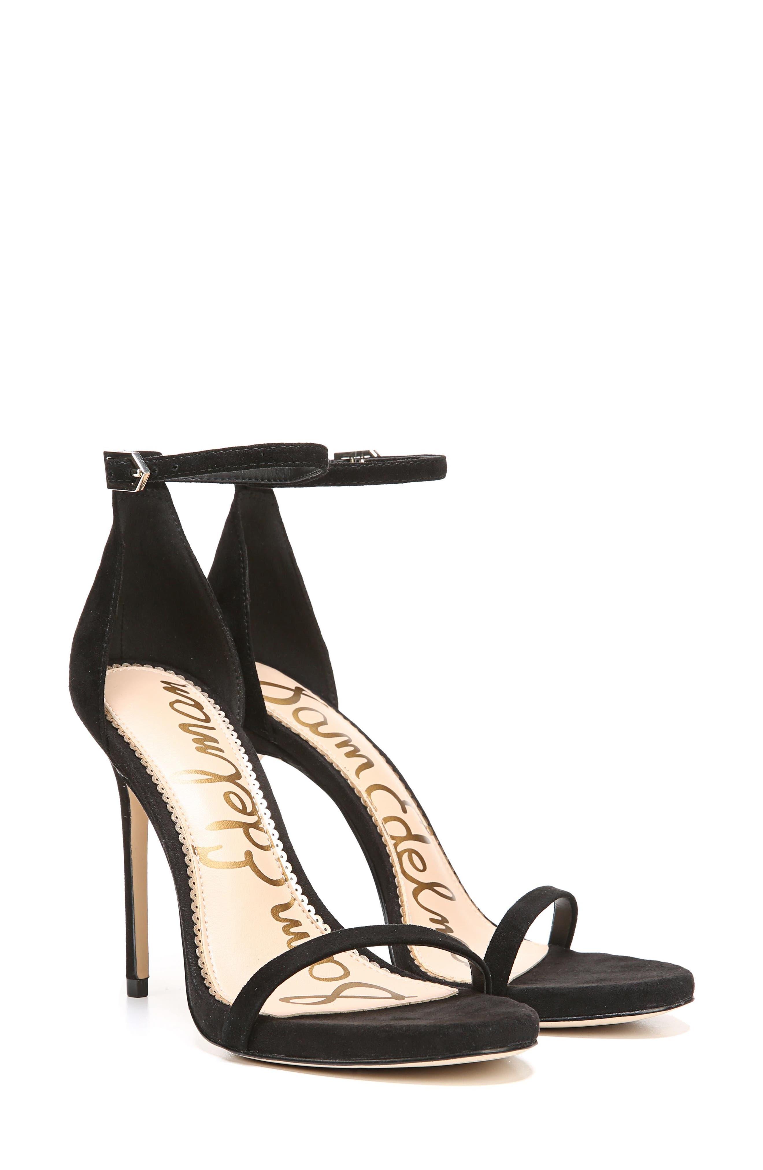 Ariella Ankle Strap Sandal,                             Alternate thumbnail 7, color,                             BLACK SUEDE