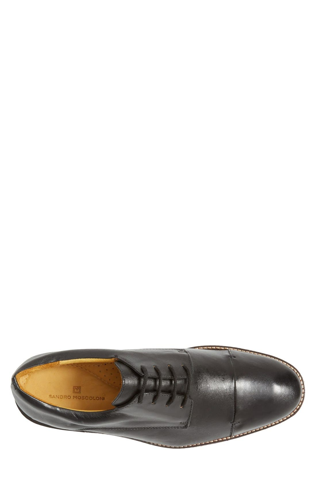 'Irving' Cap Toe Derby,                             Alternate thumbnail 3, color,                             BLACK