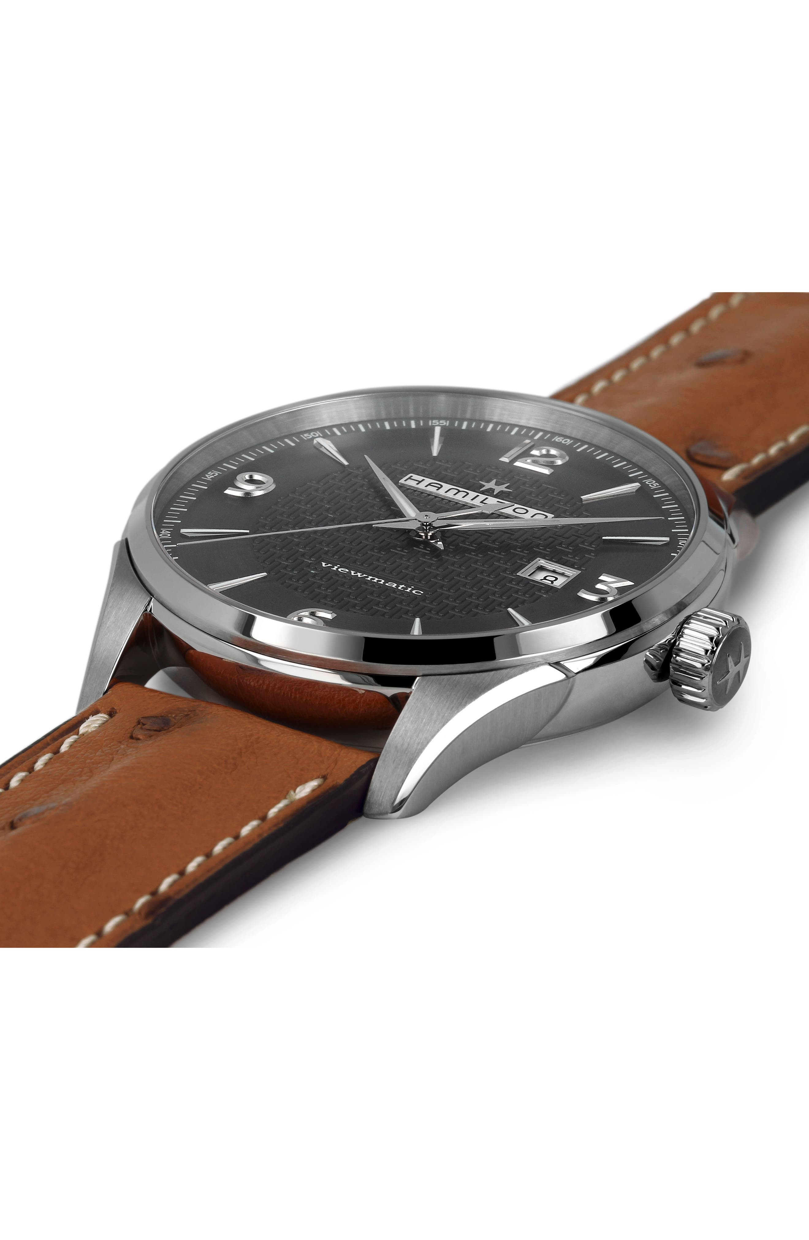 Jazzmaster Viewmatic Auto Ostrich Leather Strap Watch, 44mm,                             Alternate thumbnail 2, color,                             BROWN/ GUNMETAL/ SILVER