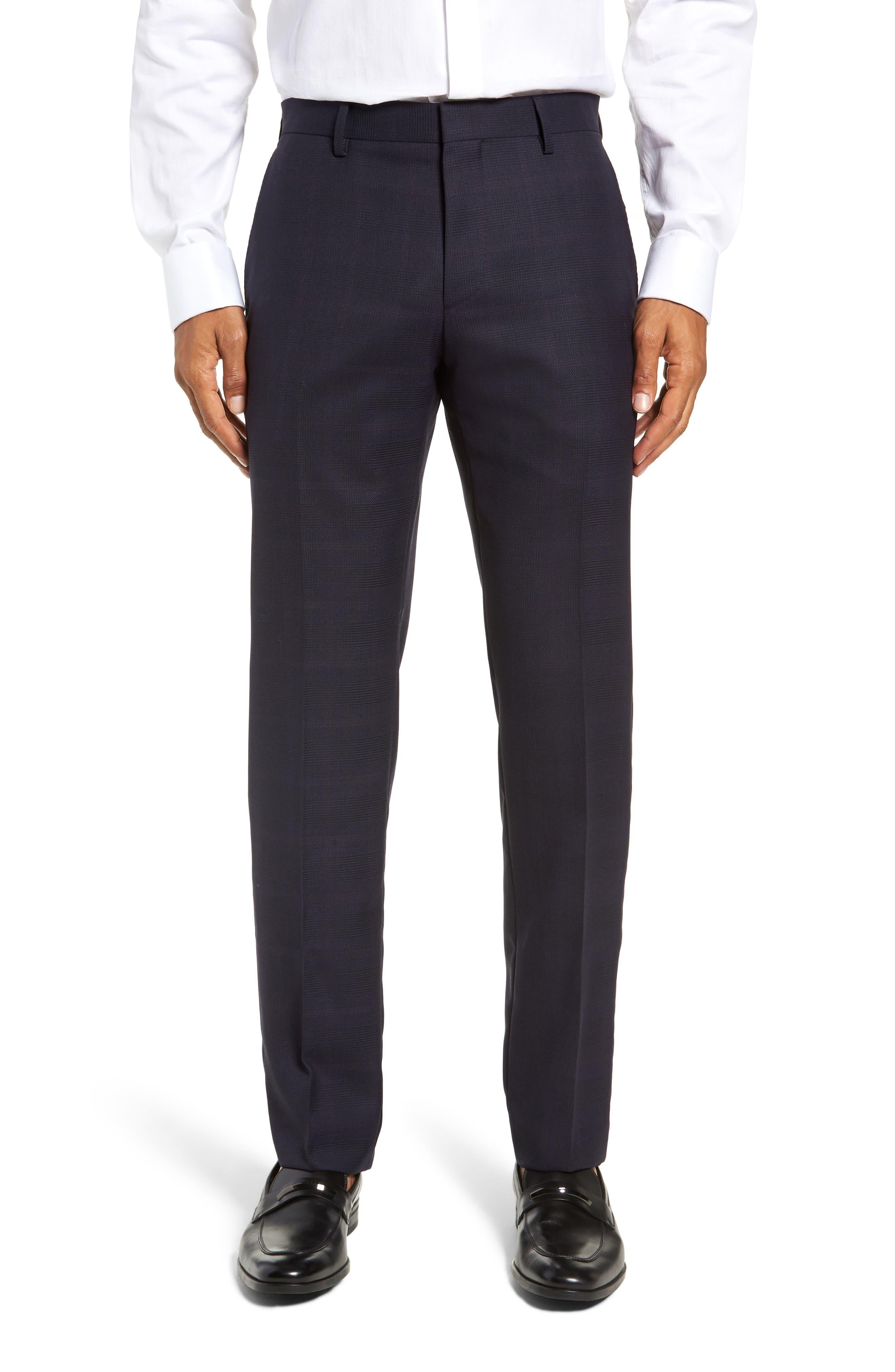 x Nordstrom Huge/Genius Trim Fit Plaid Wool Suit,                             Alternate thumbnail 8, color,                             NAVY