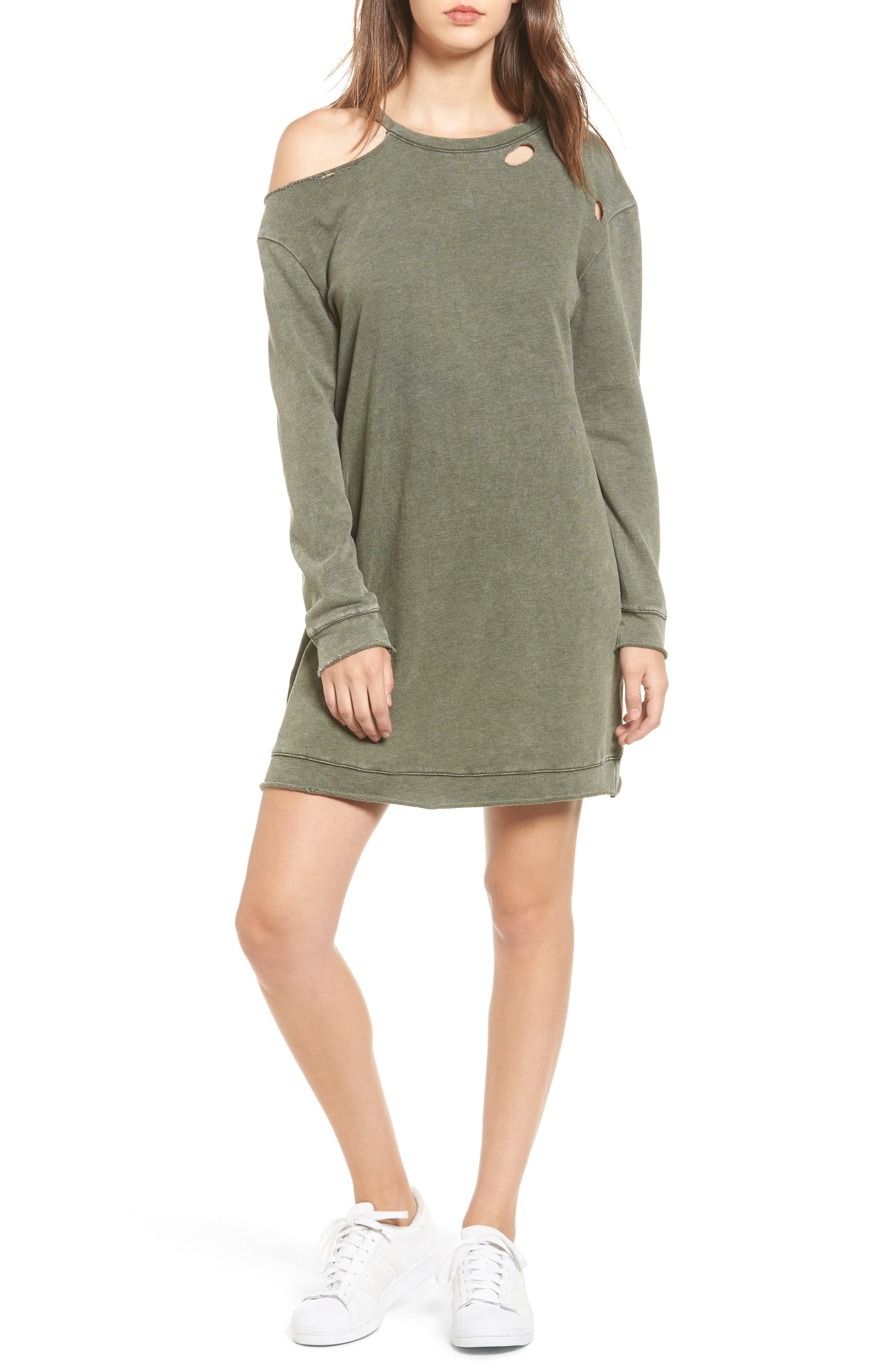 Ripped Sweatshirt Dress,                             Main thumbnail 1, color,                             309