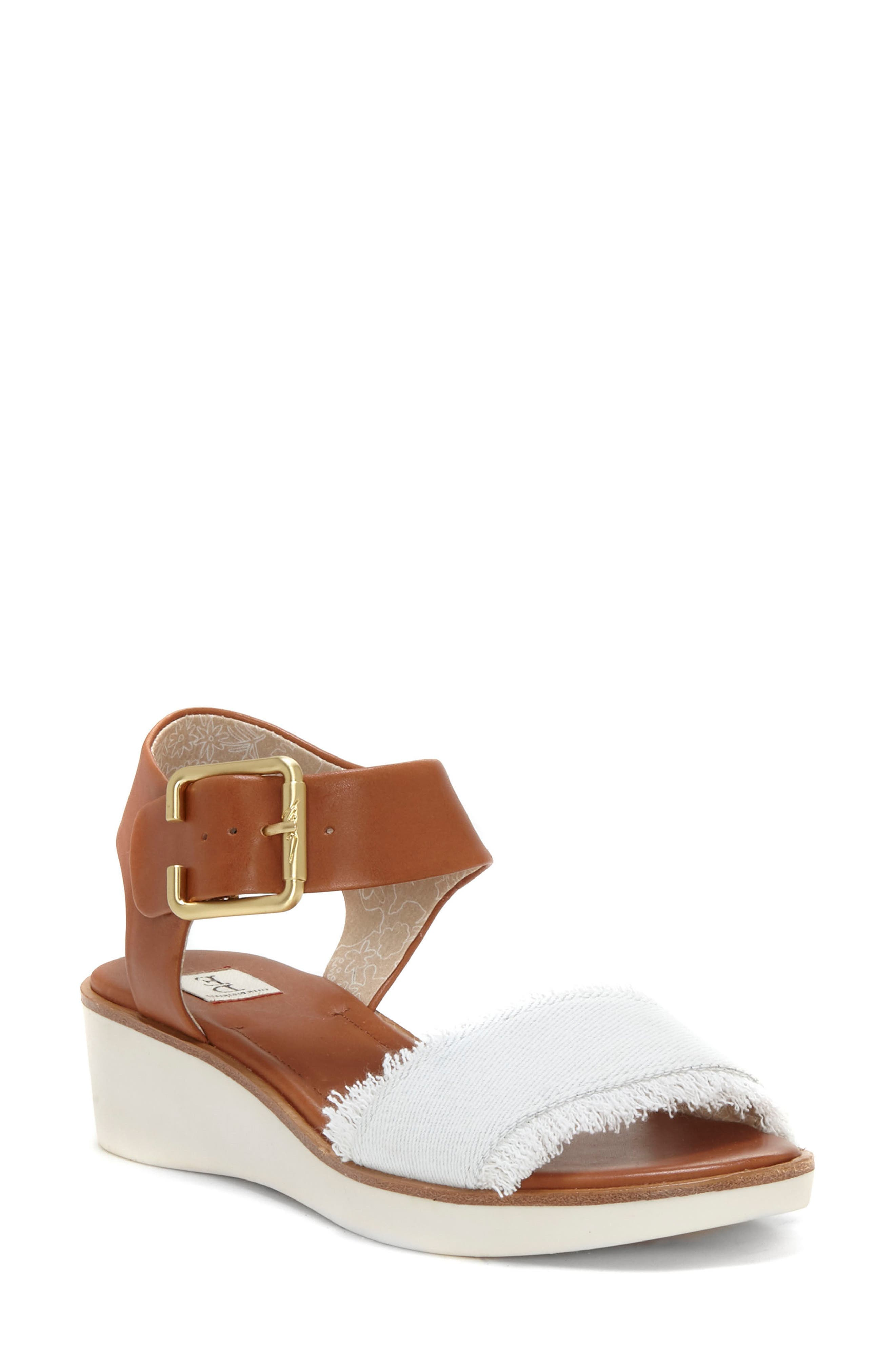 Satiana Sandal,                             Main thumbnail 1, color,                             PURE WHITE DENIM FABRIC
