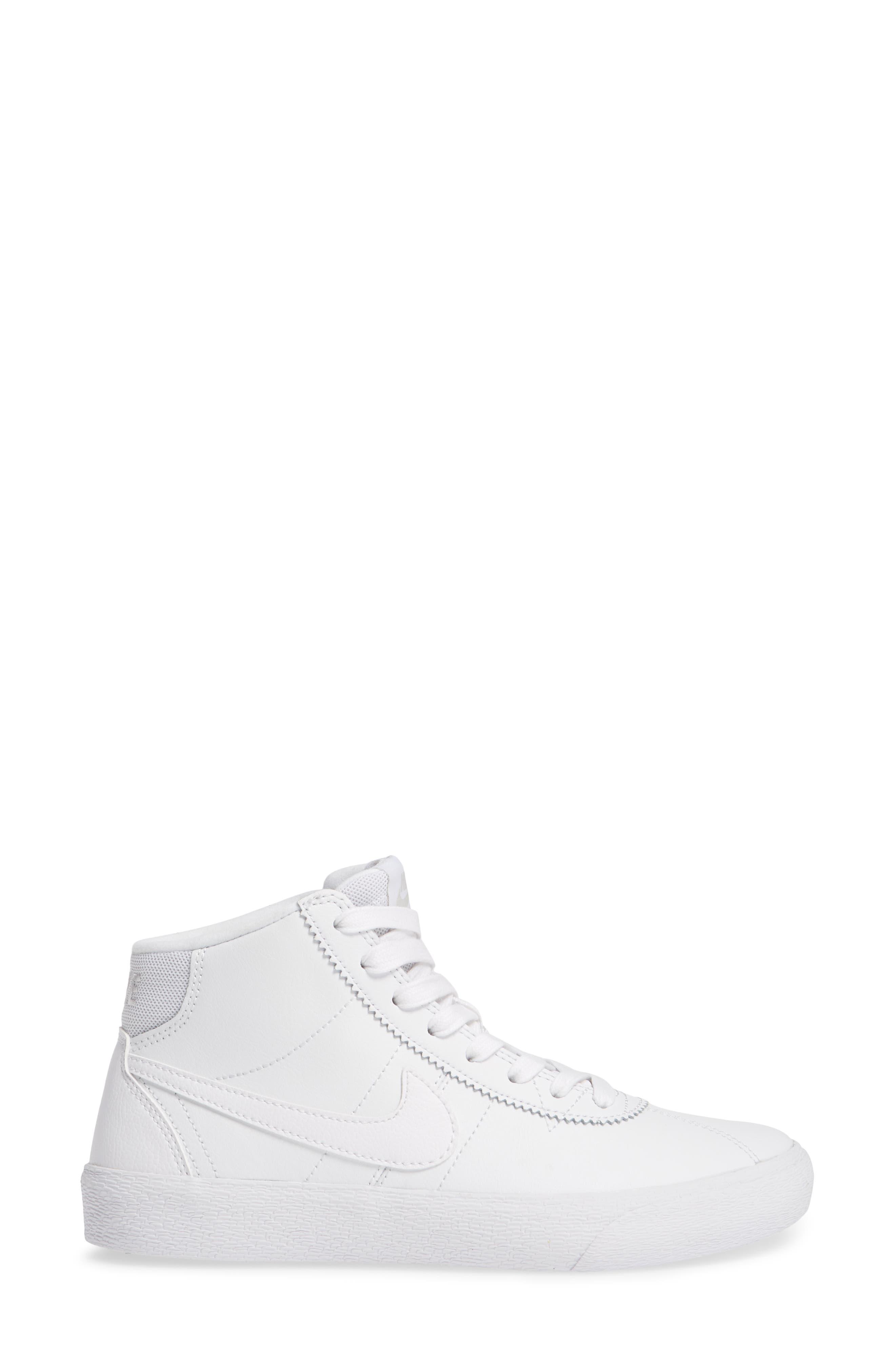 SB Bruin Hi Skateboarding Sneaker,                             Alternate thumbnail 3, color,                             WHITE/ WHITE/ VAST GREY