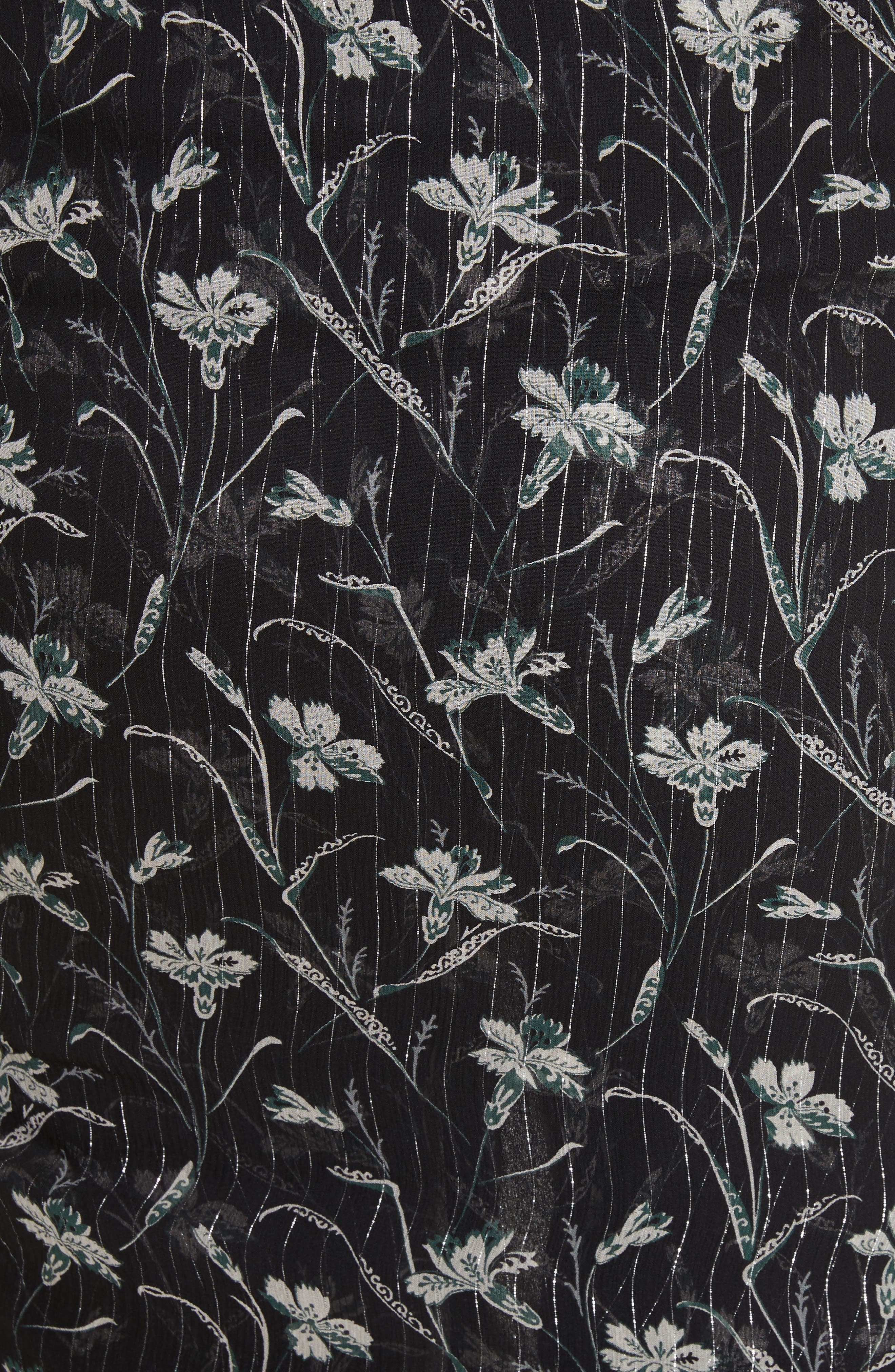 Mae Metallic Stripe Silk Midi Skirt,                             Alternate thumbnail 5, color,