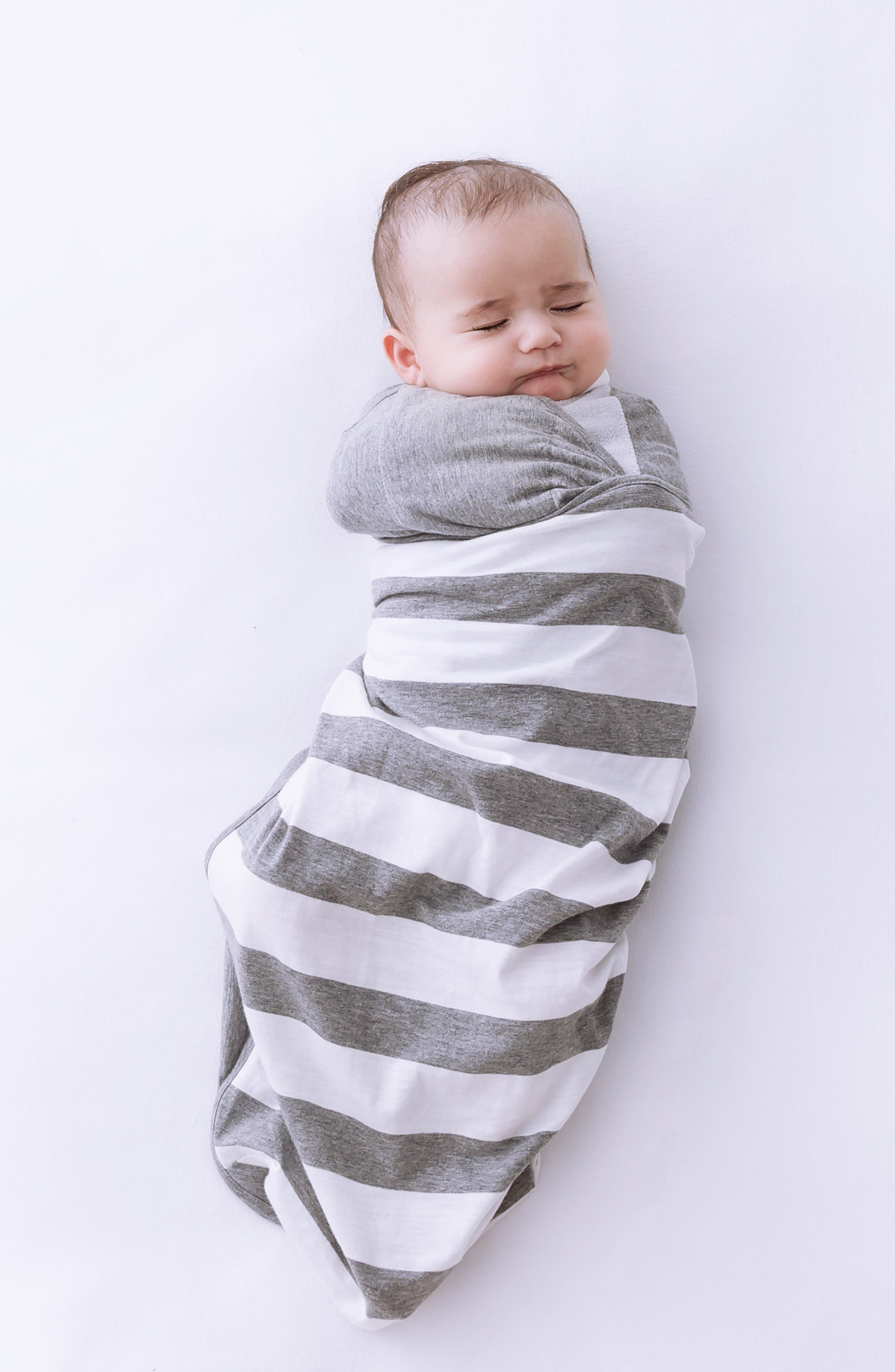 Stripe Wearable Swaddle,                             Alternate thumbnail 4, color,                             GREY/ WHITE STRIPE