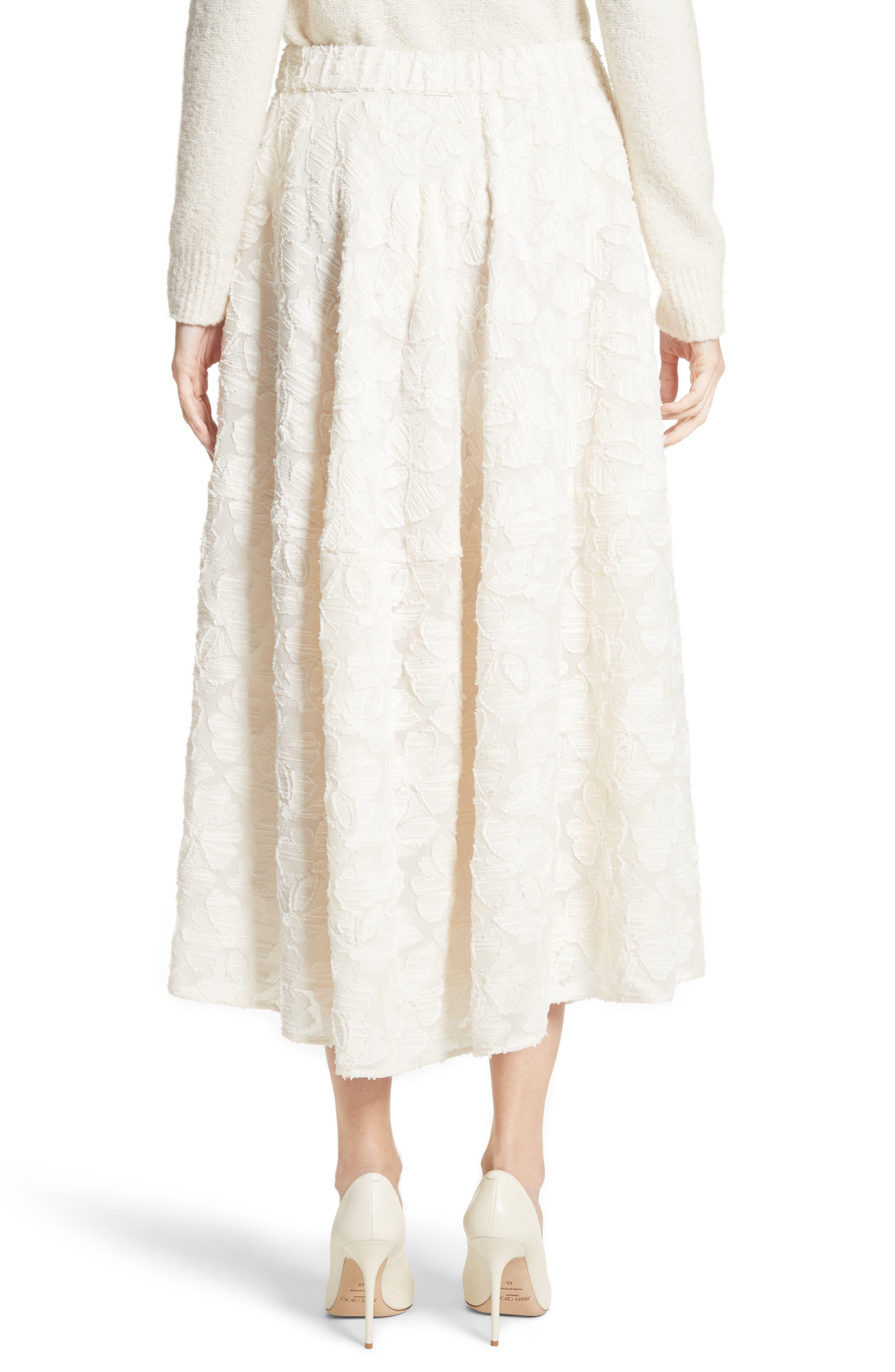 Pleated Fil Coupé Midi Skirt,                             Alternate thumbnail 2, color,                             900