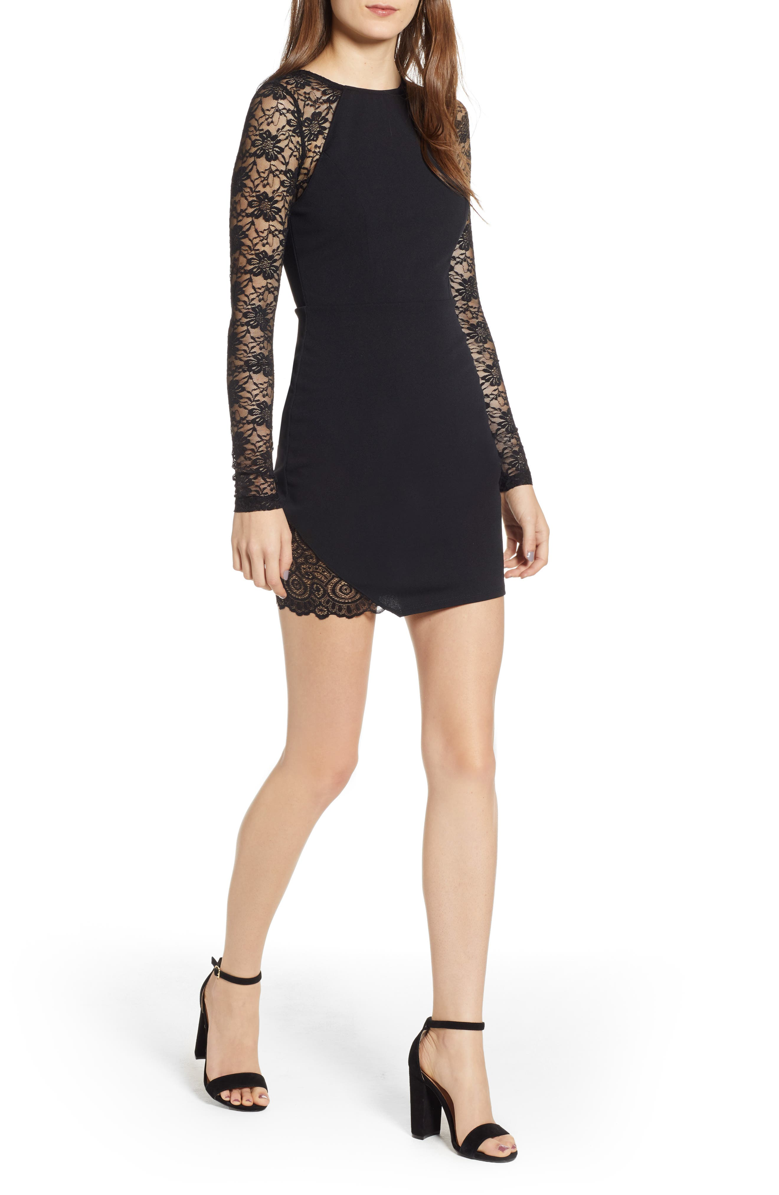 Women's Love, Nickie Lew Lace Sleeve Body-Con Dress, Size Large - Black