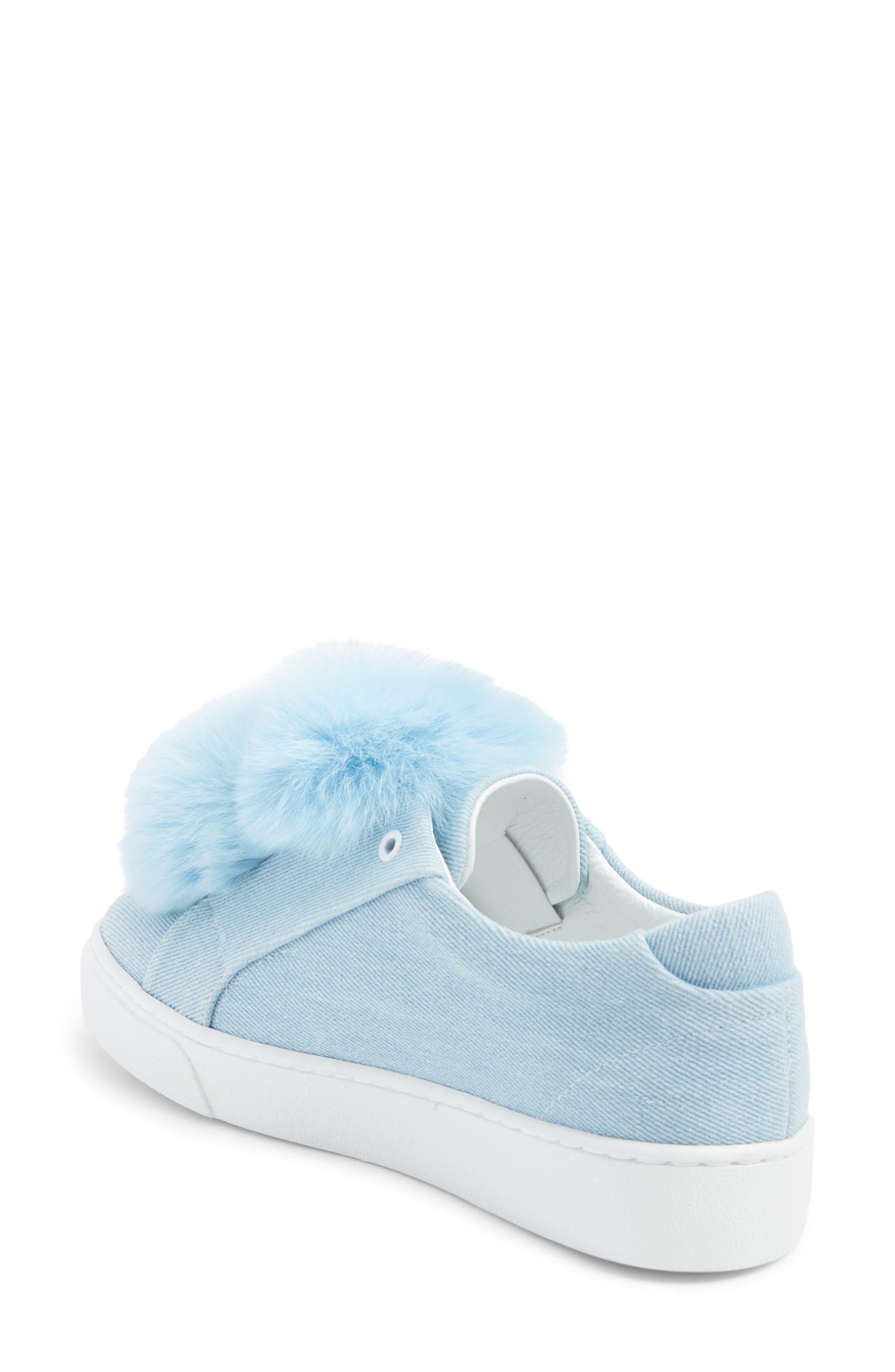 Stella Genuine Fox Fur Trim Platform Sneaker,                             Alternate thumbnail 2, color,                             400
