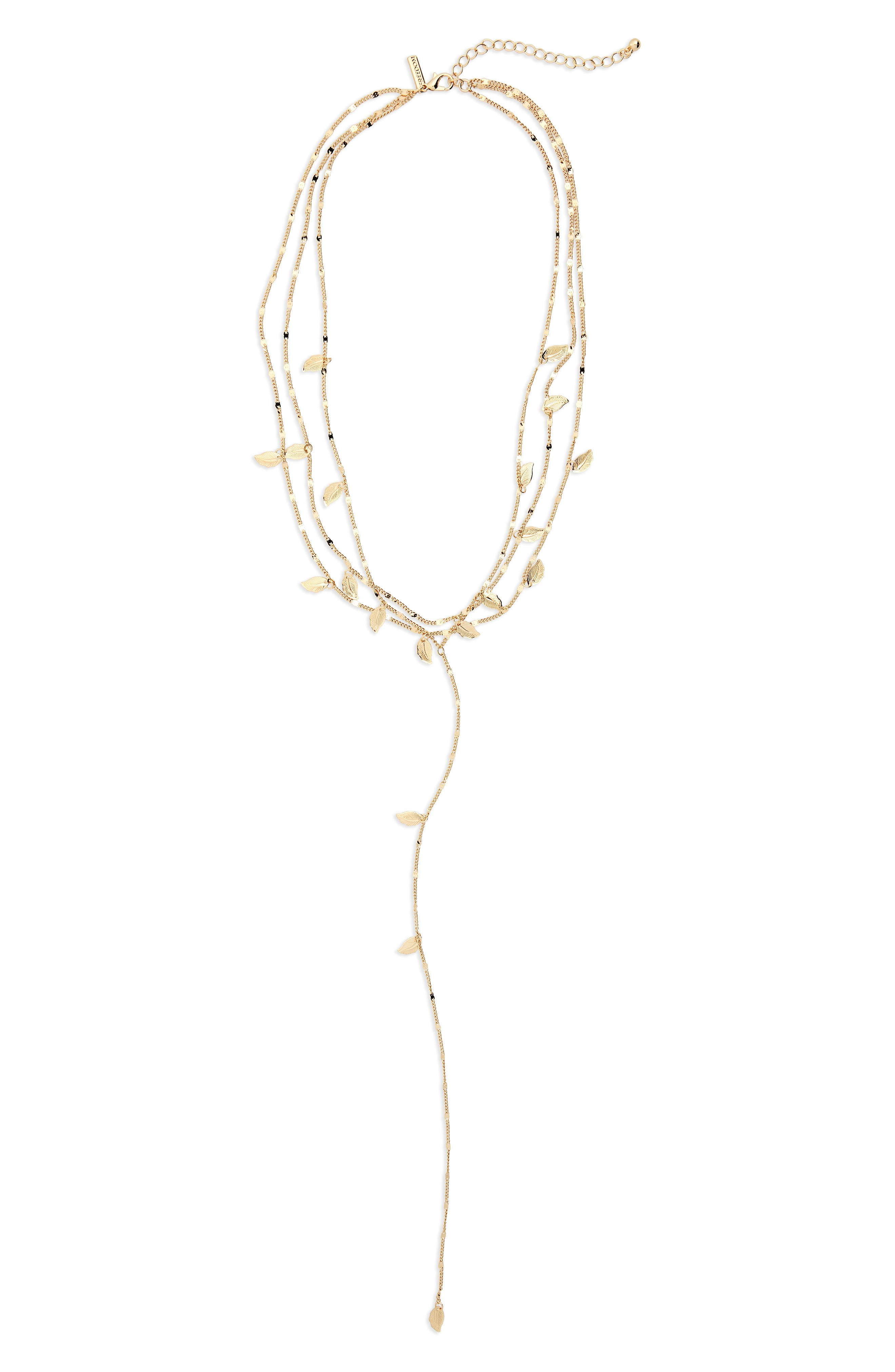 Leaf Station Multistrand Y-Necklace,                             Main thumbnail 1, color,